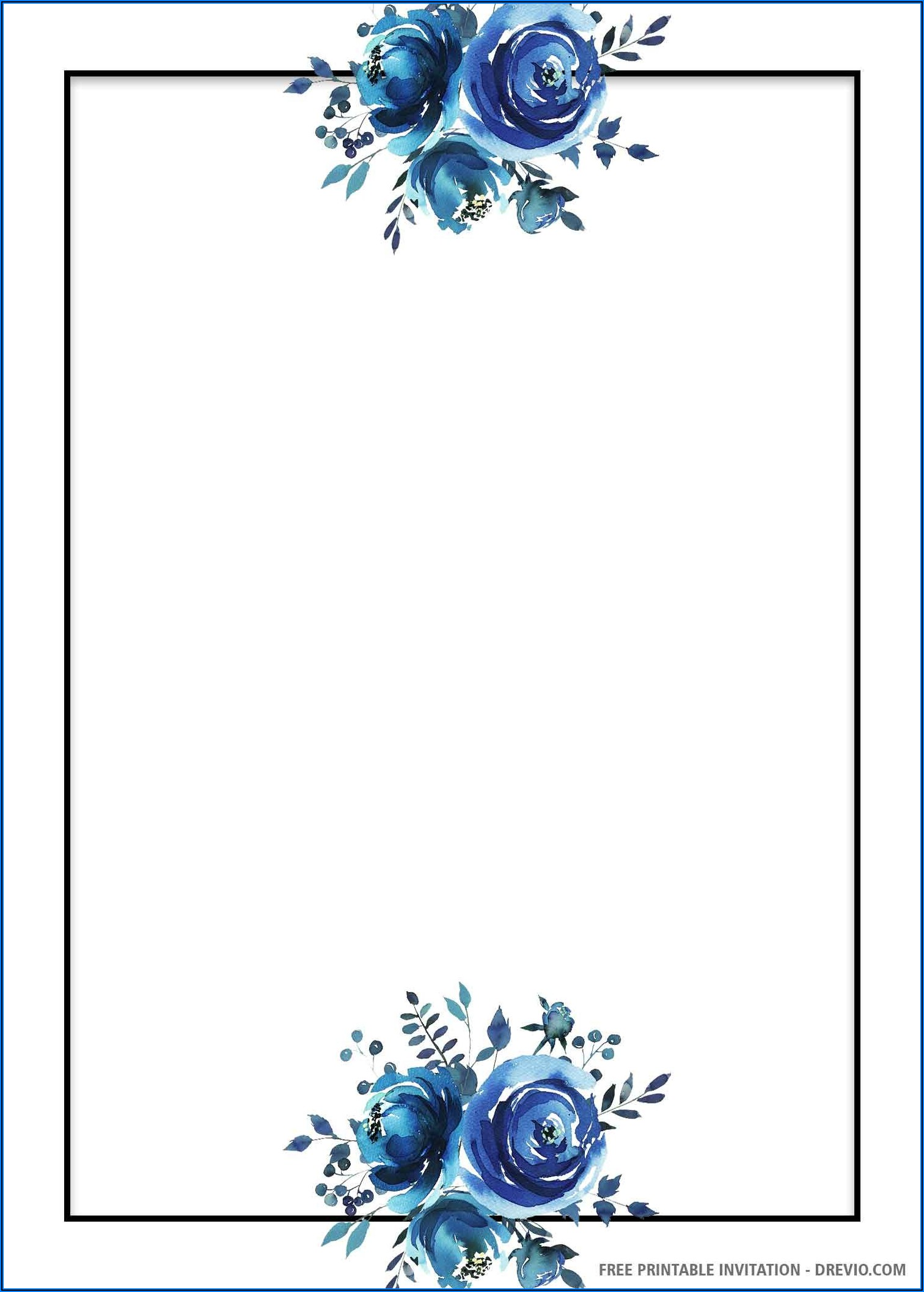 Blue Floral Wedding Invitation Template