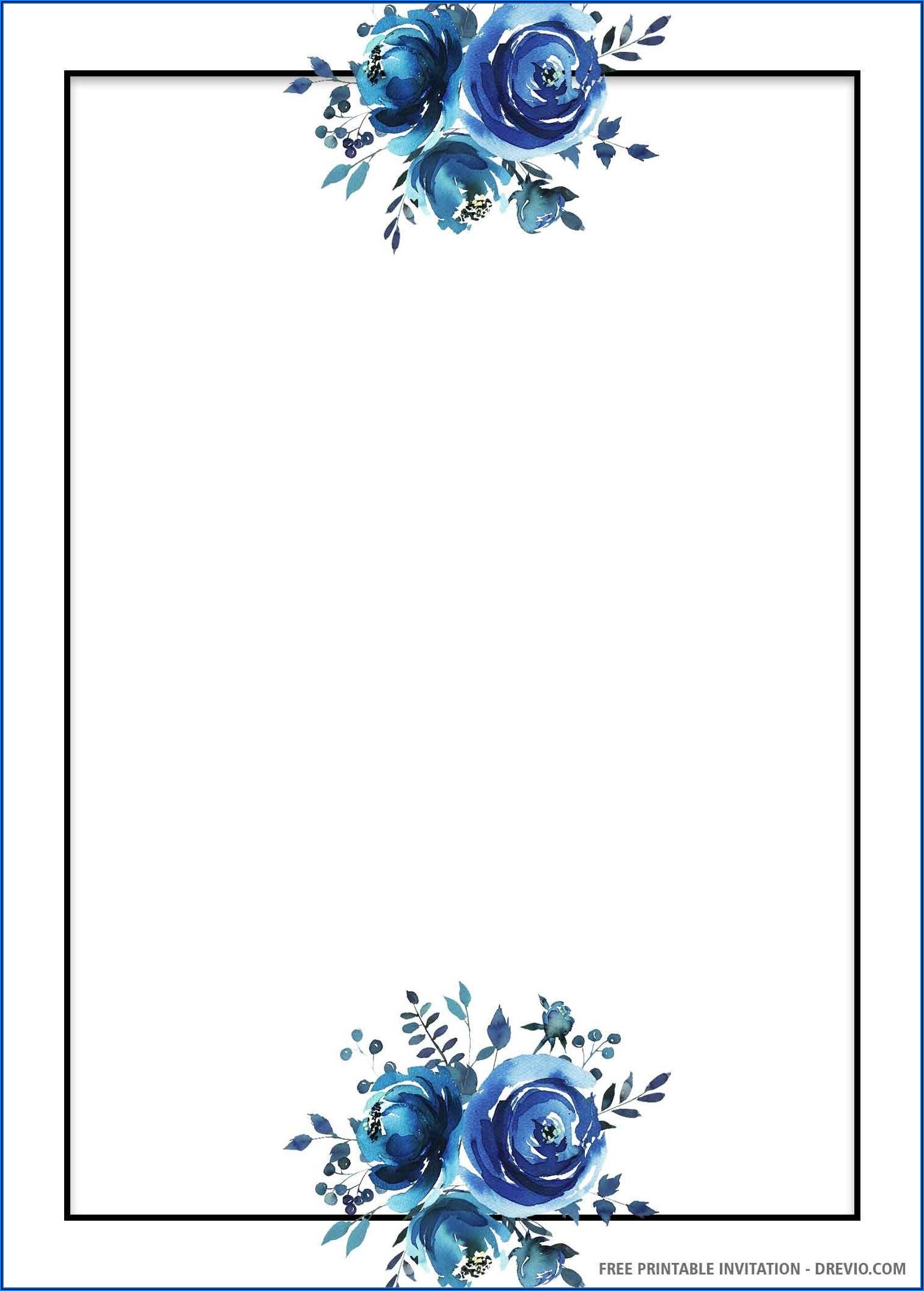 Blue Floral Wedding Invitation Template