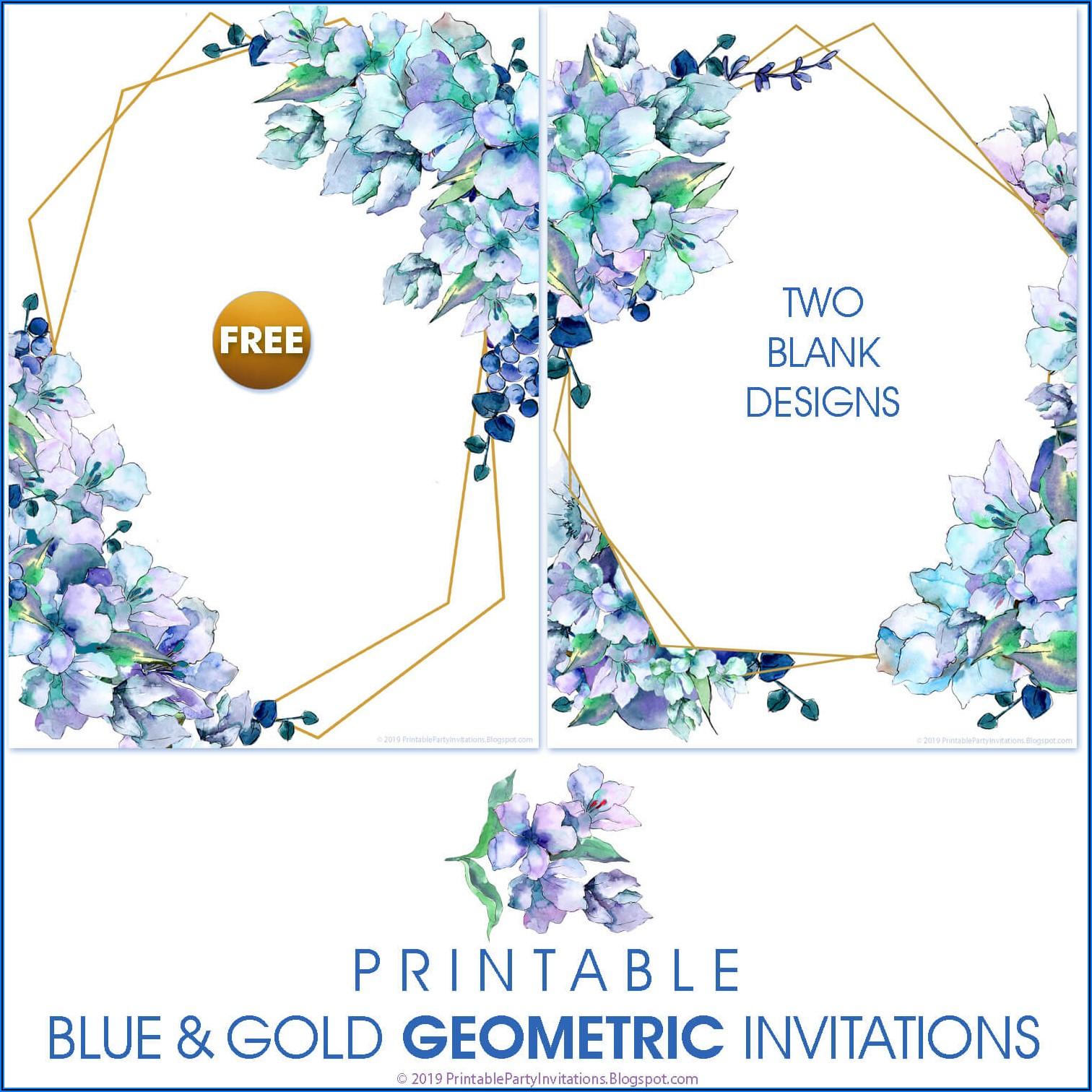 Blue Floral Wedding Invitations