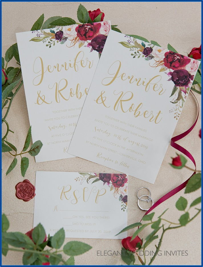 Blush And Burgundy Wedding Invitations