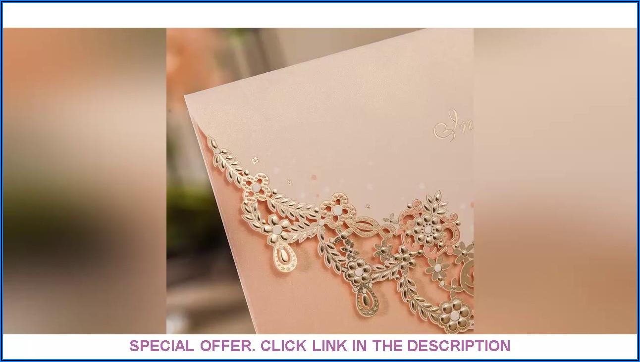 Blush Pink Floral Laser Cut Wedding Invitations