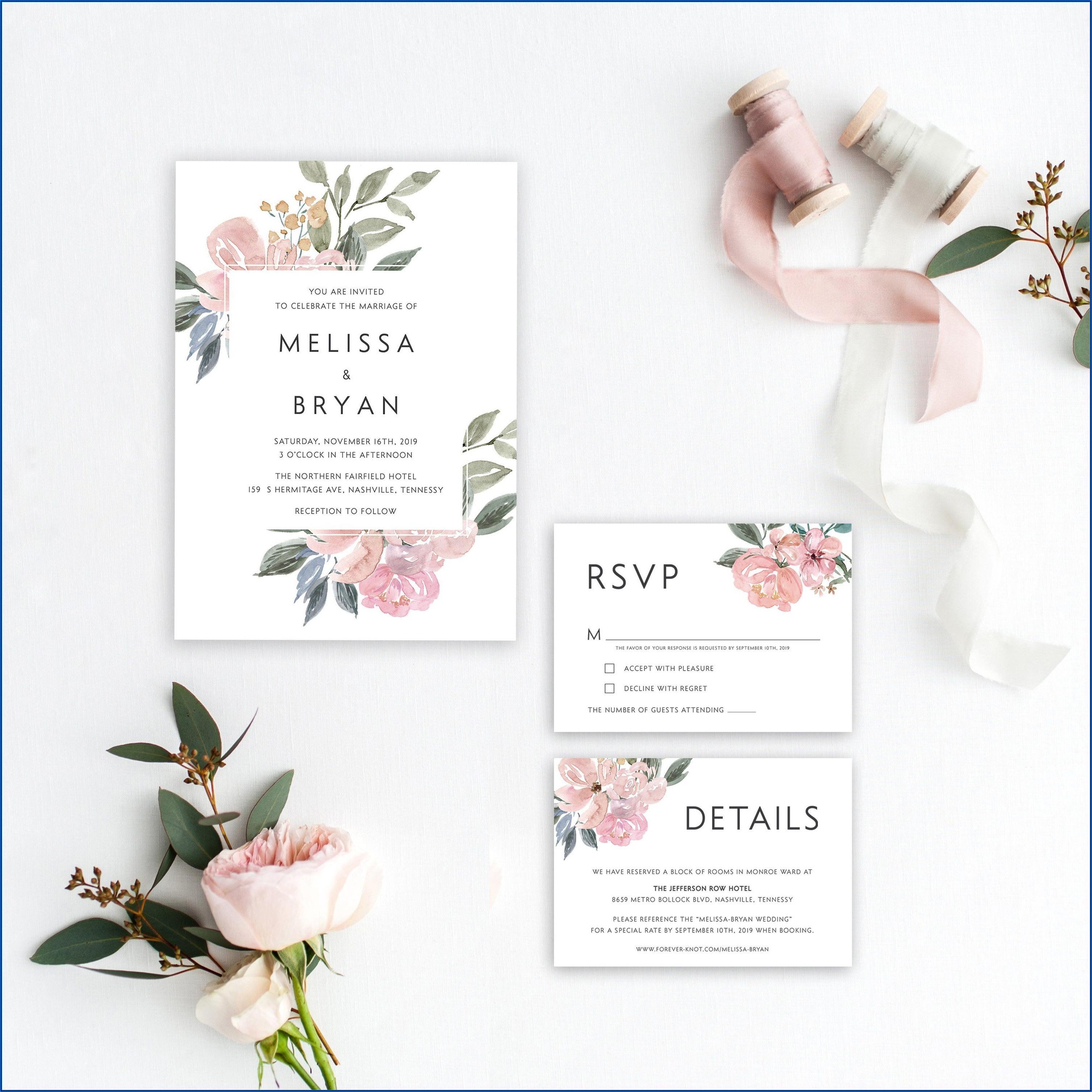 Blush Pink Floral Wedding Invitations