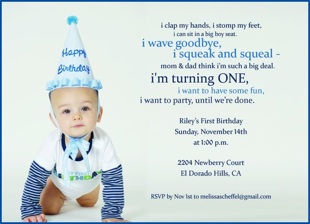Boy 1st Birthday Invitation Wording