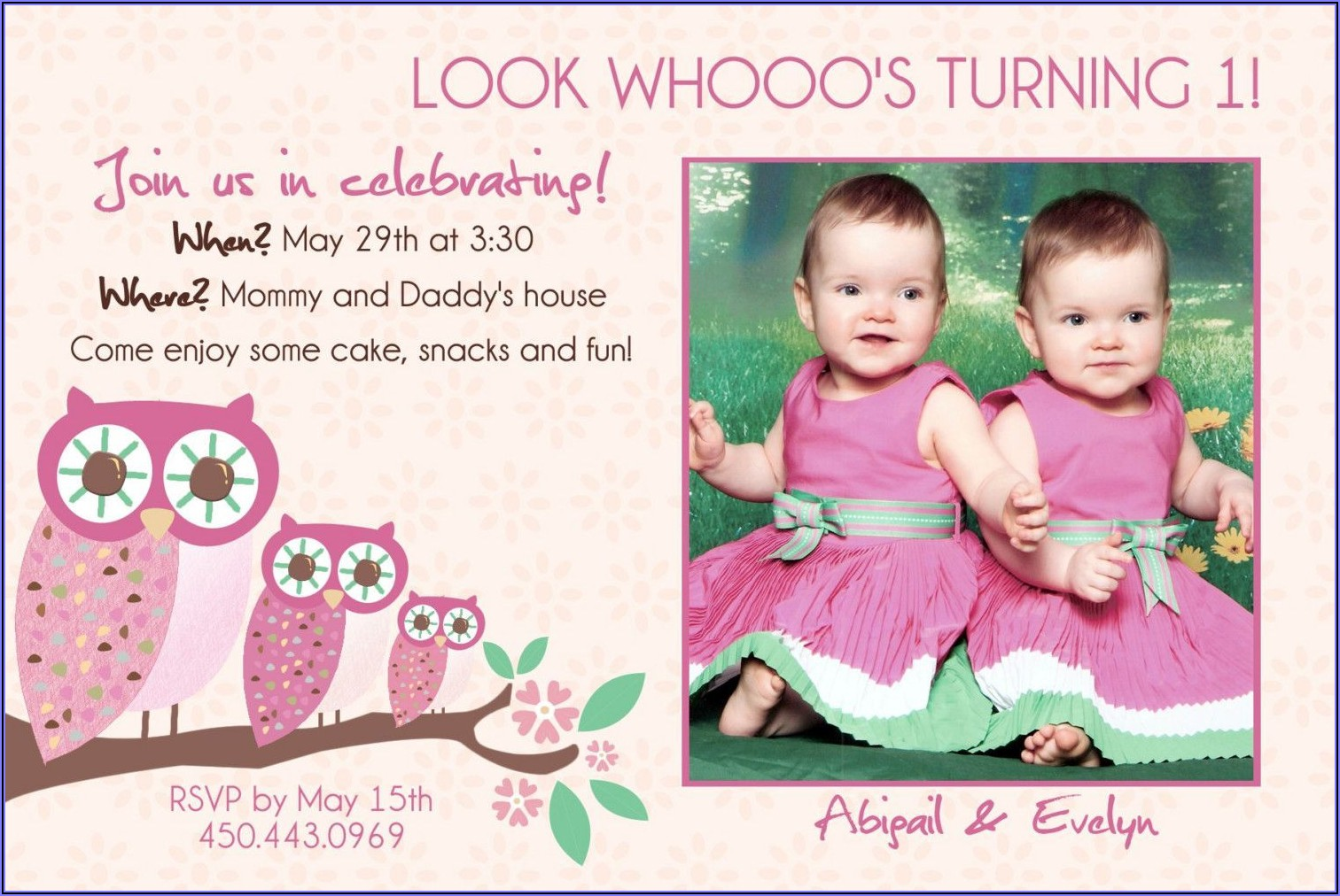 Boy Girl Twin 1st Birthday Invitation
