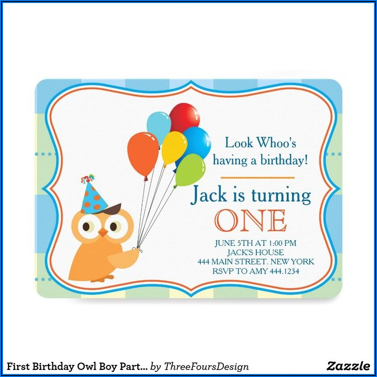 Boy Owl First Birthday Invitations