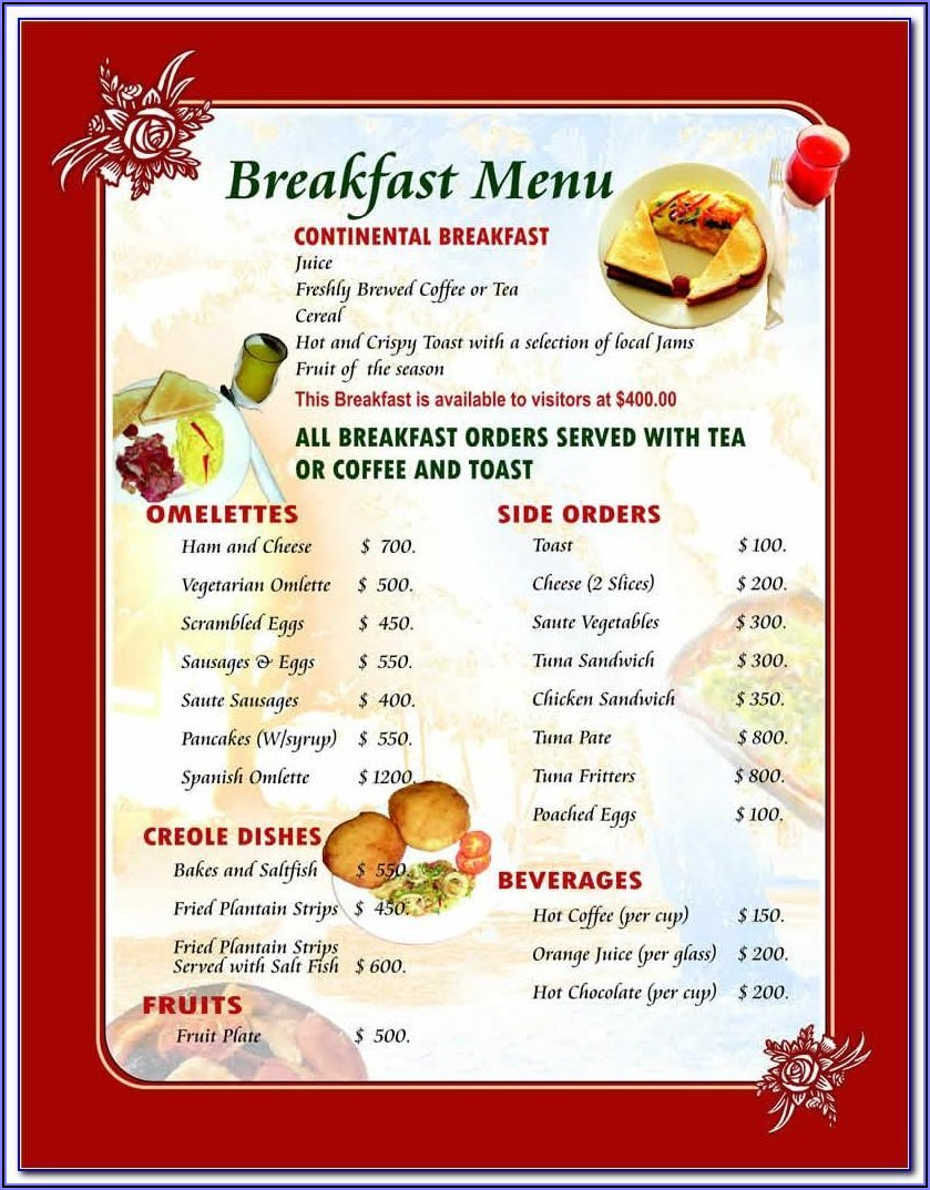 Breakfast Menu Template Word Free