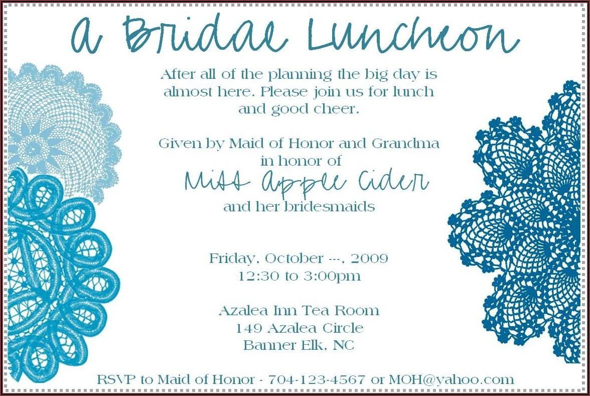 Bridal Luncheon Invitation Etiquette