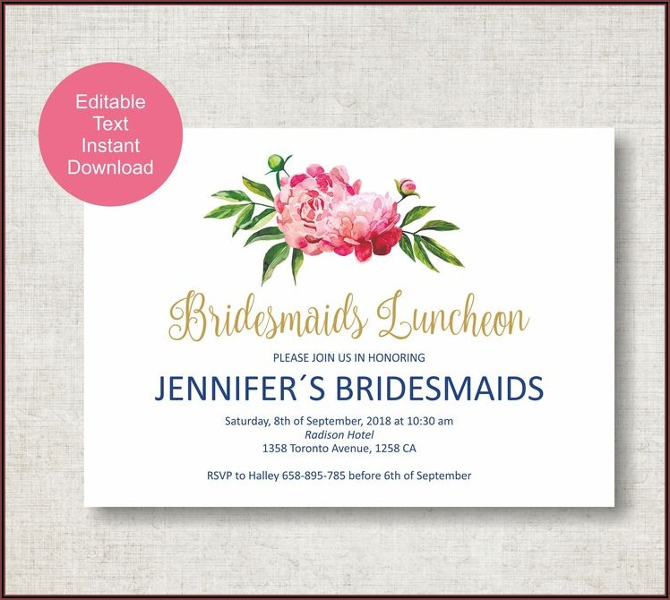 Bridesmaid Luncheon Invitations Template