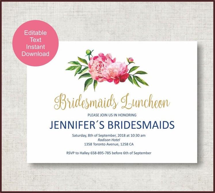 Bridesmaid Luncheon Invitations Template