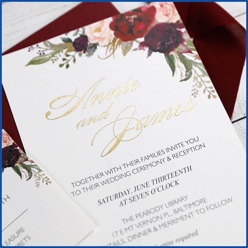 Burgundy And Blush Floral Wedding Invitations