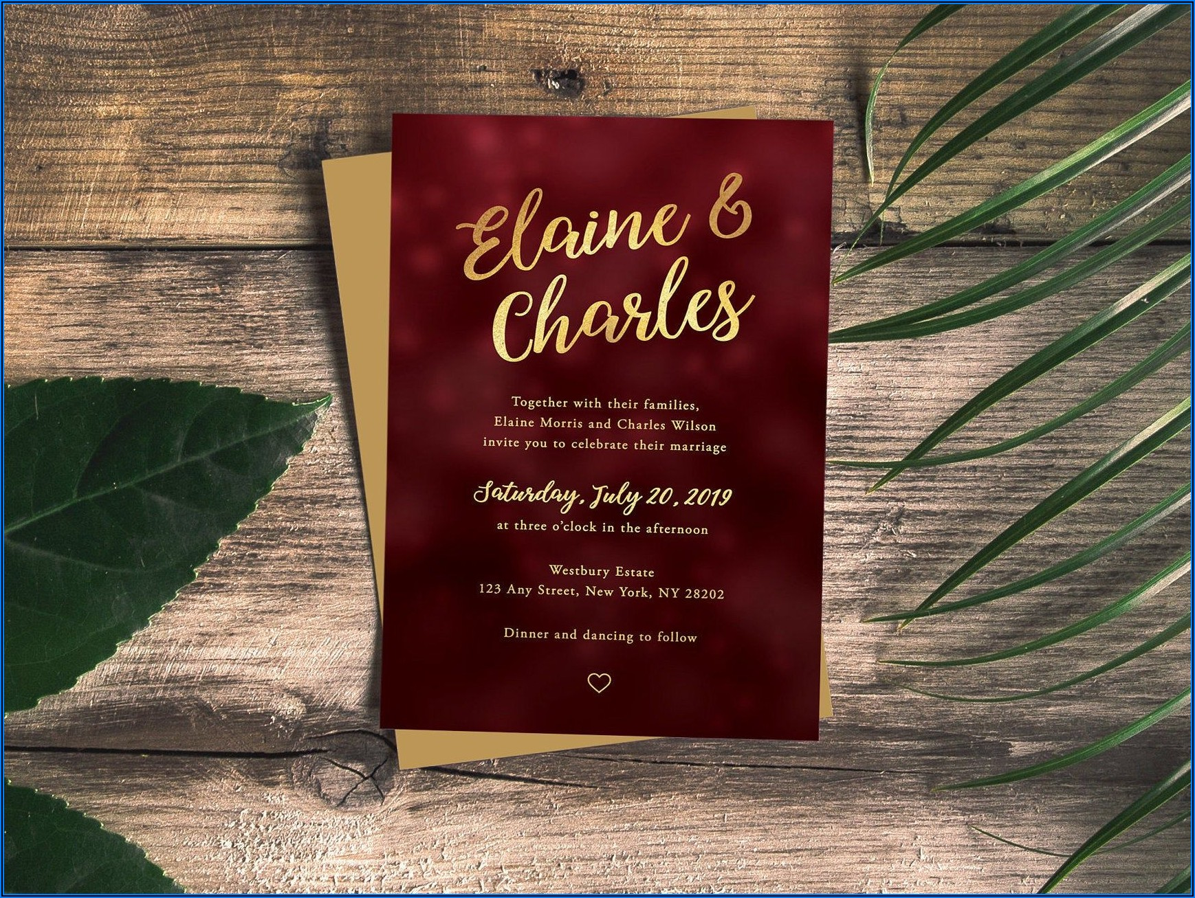 Burgundy And Gold Wedding Invitation Templates