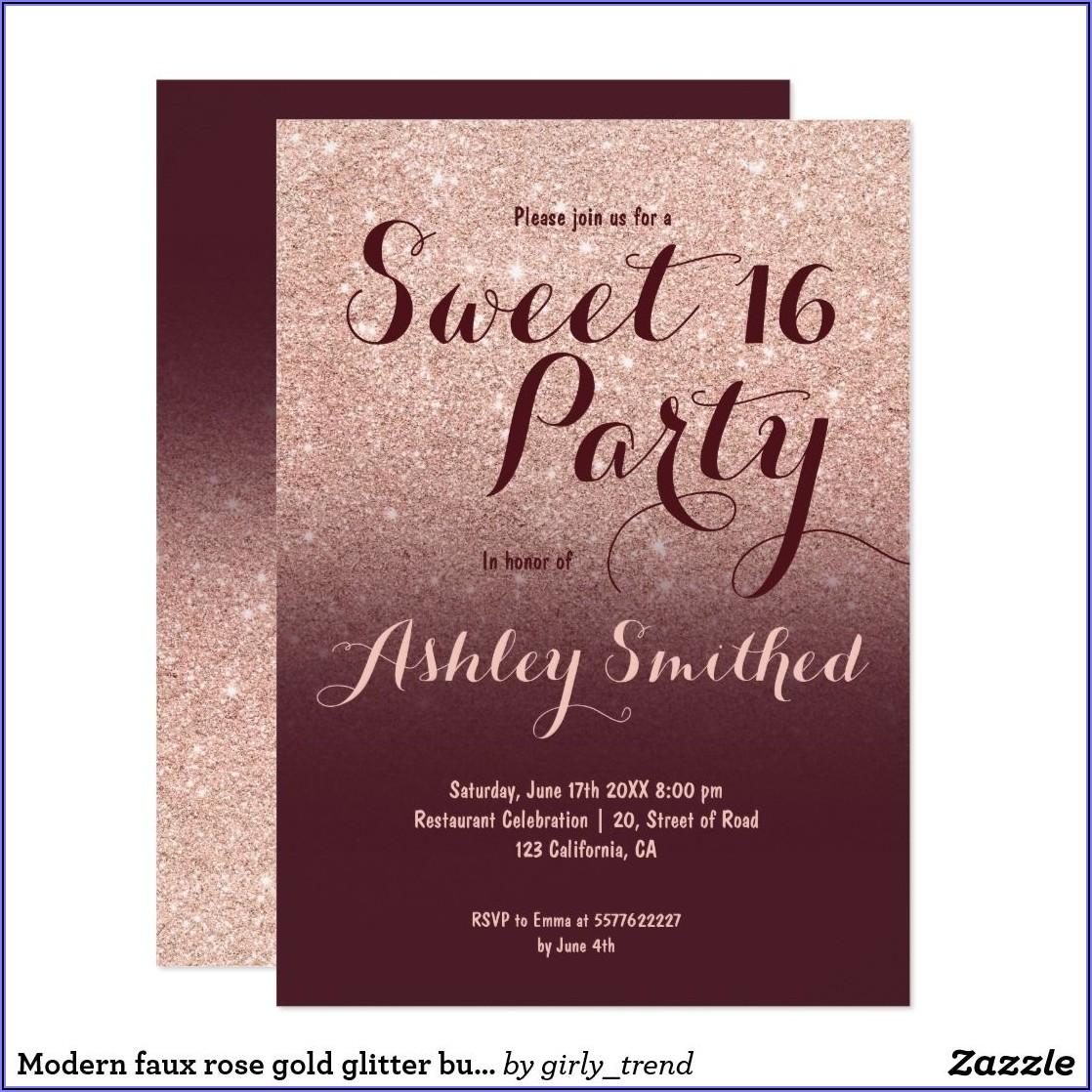 Burgundy And Rose Gold Birthday Invitations