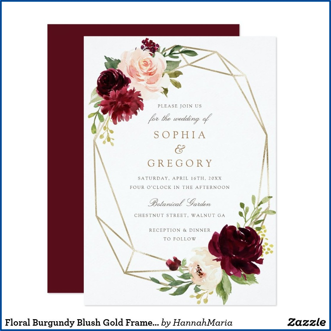 Burgundy Blush And Gold Wedding Invitations