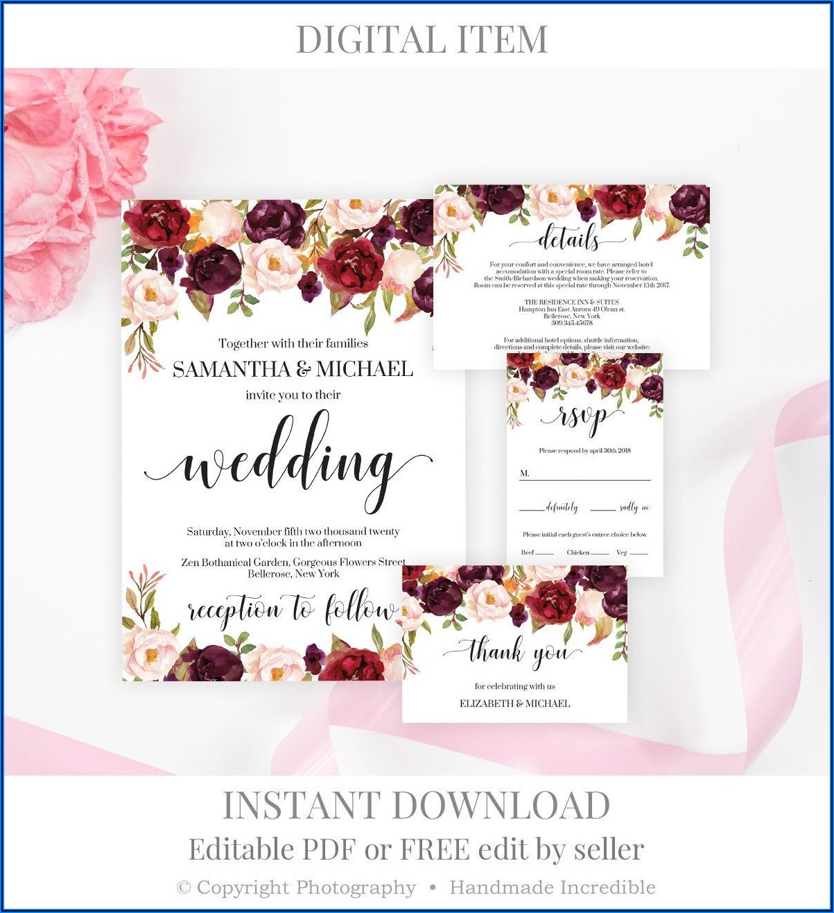 Burgundy Floral Wedding Invitation Template