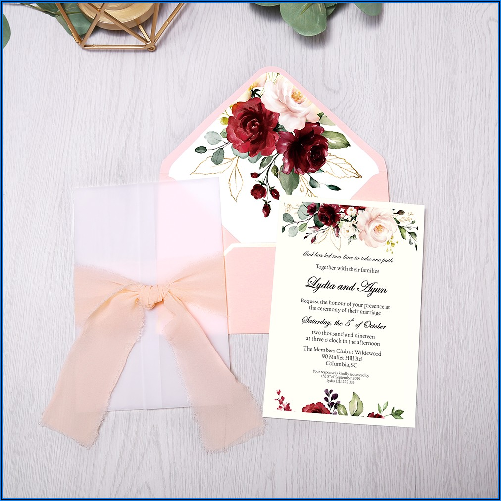 Burgundy Flower Wedding Invitations