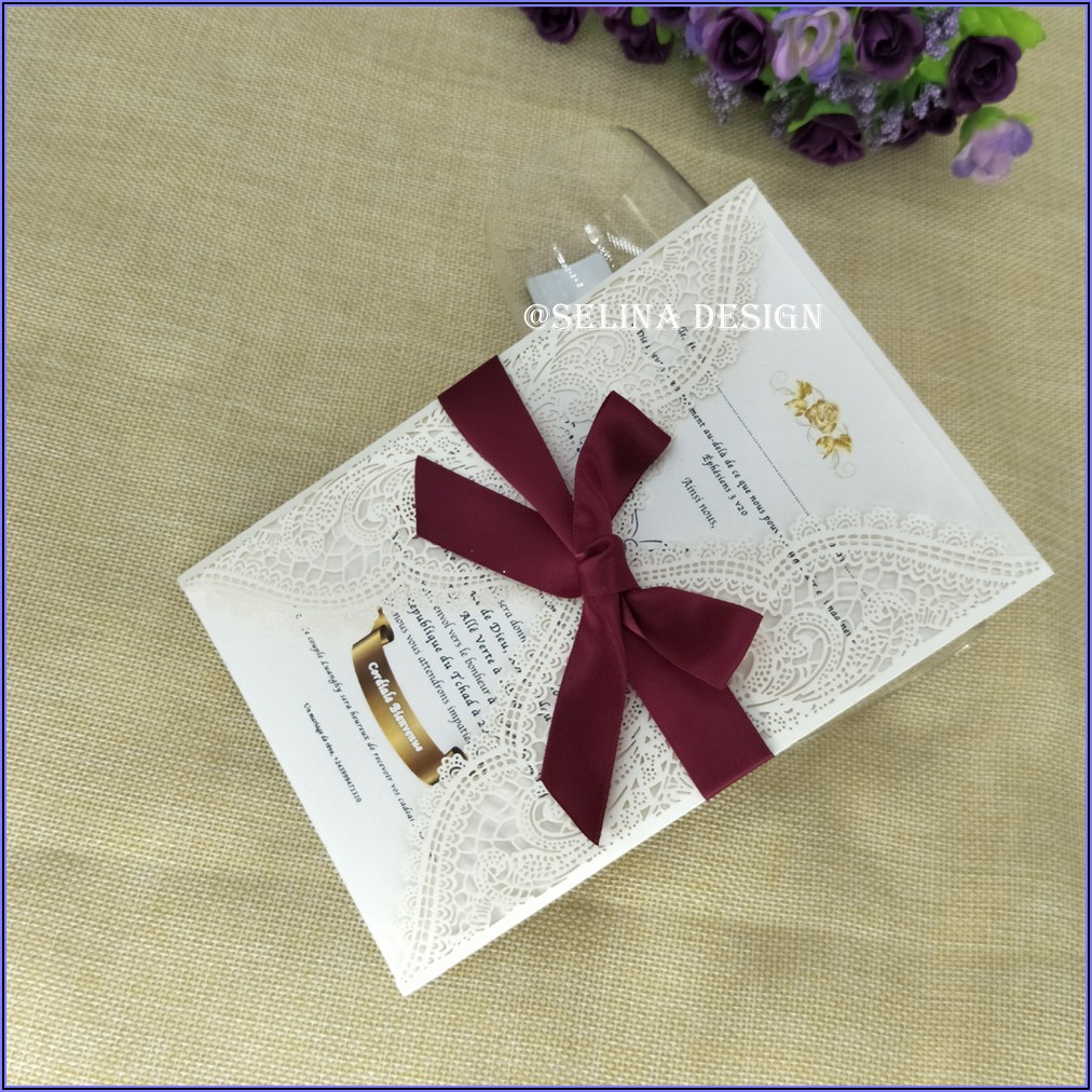 Burgundy Lace Wedding Invitations