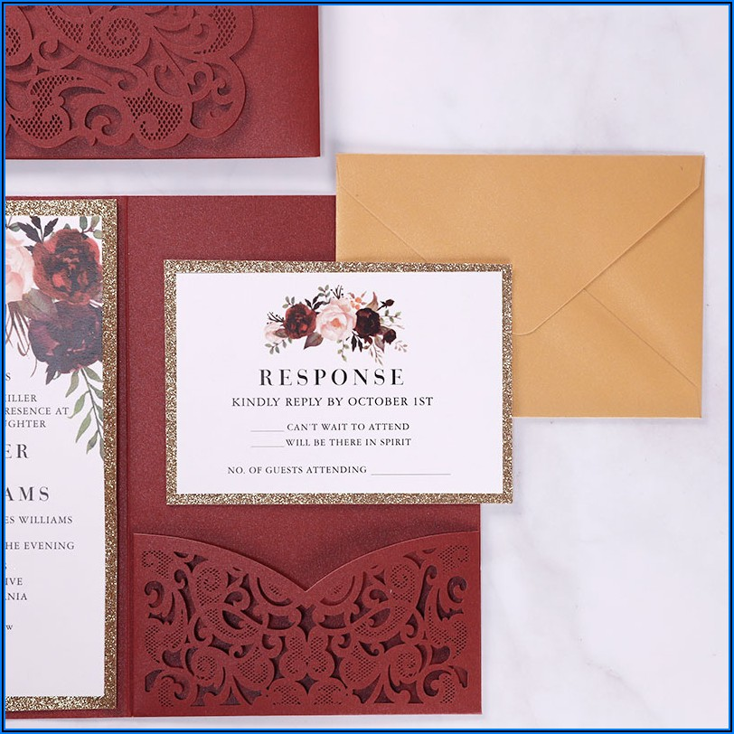 Burgundy Laser Cut Pocket Wedding Invitations