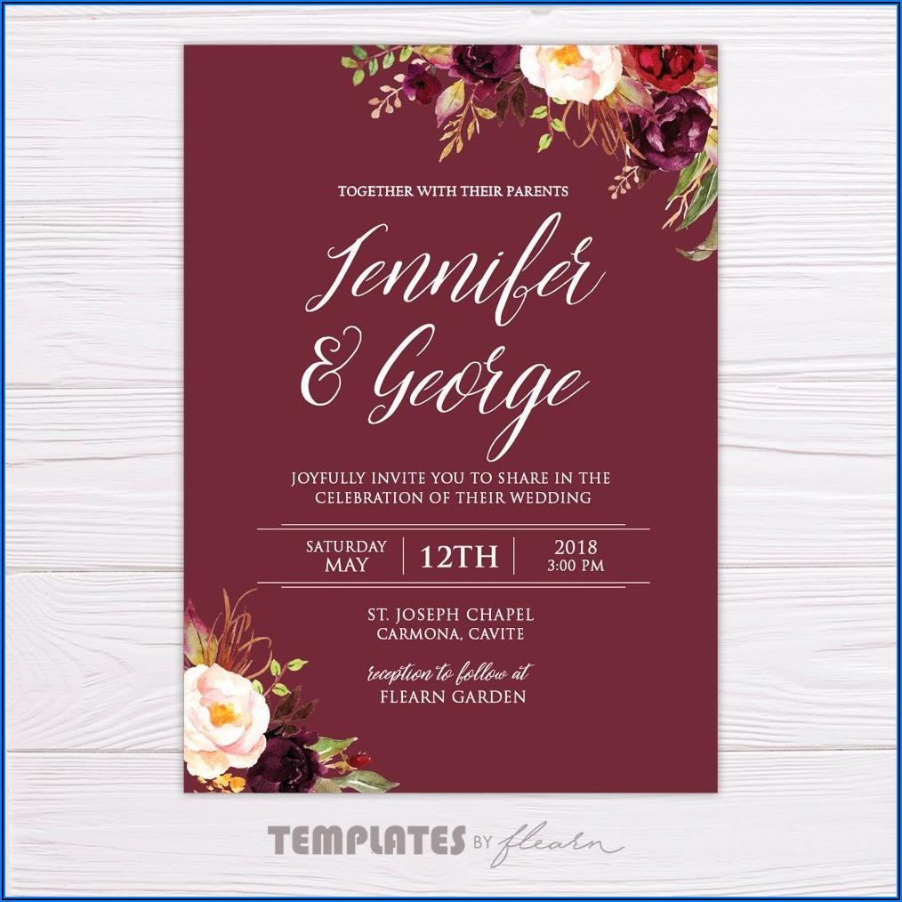 Burgundy Wedding Invitation Templates