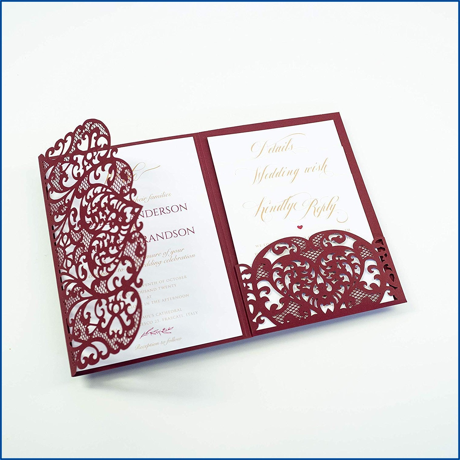 Burgundy Wedding Invitations Laser Cut