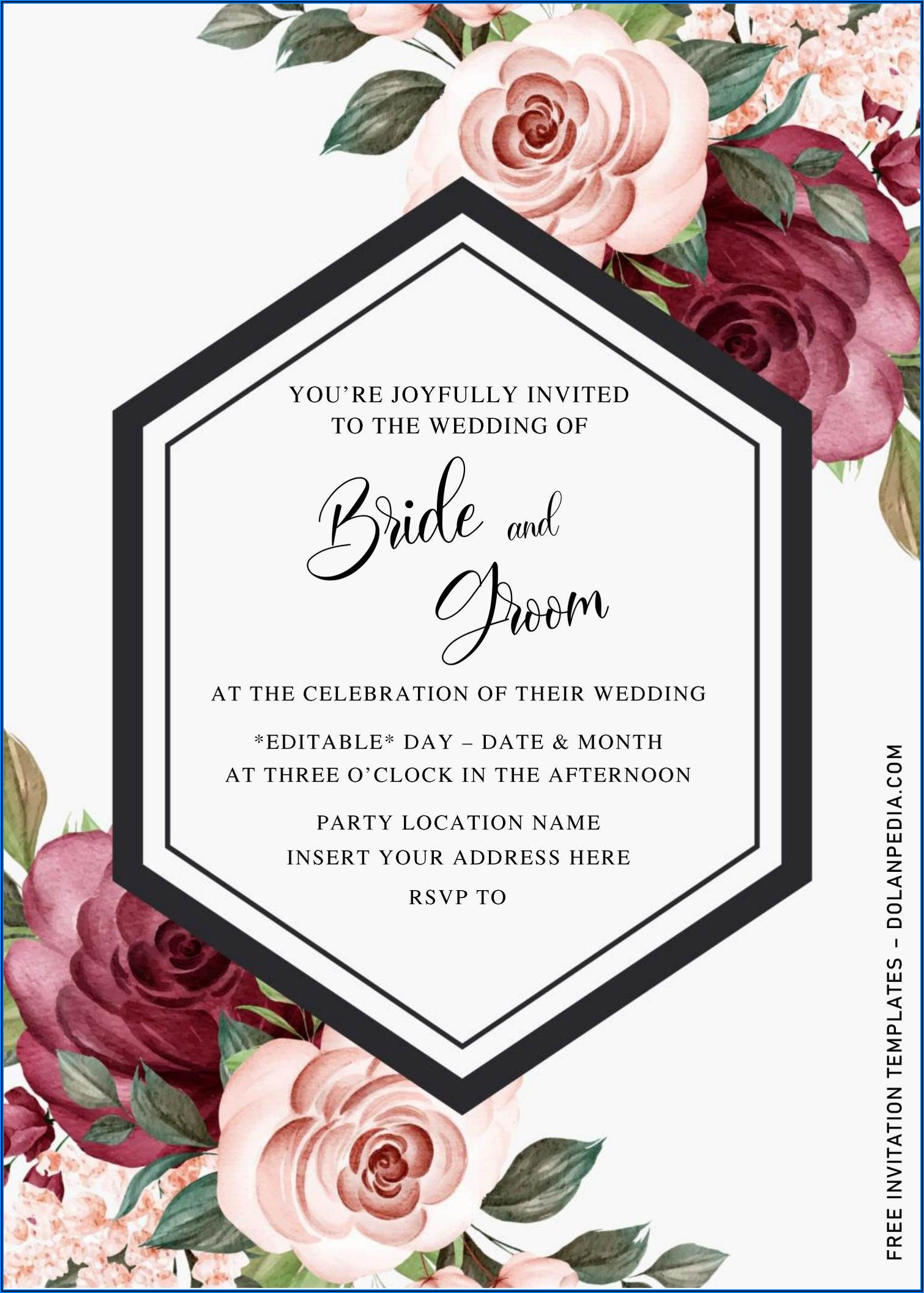 Burgundy Wedding Invitations Templates Free