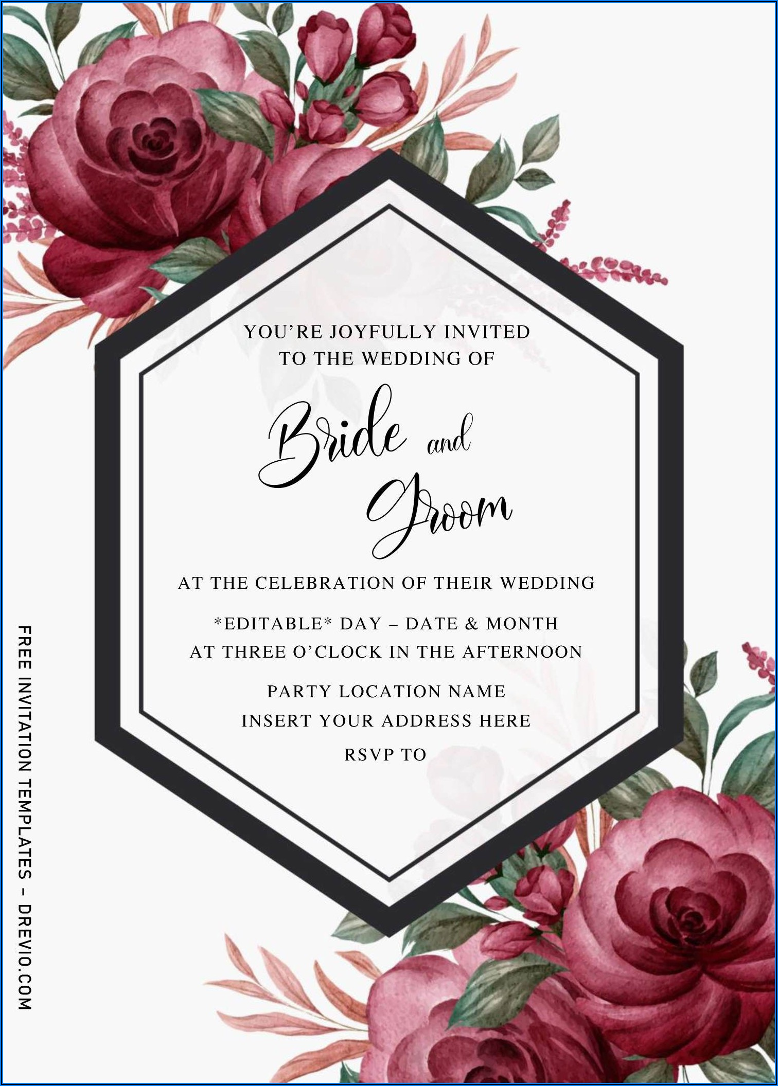 Burgundy Wedding Invitations Templates