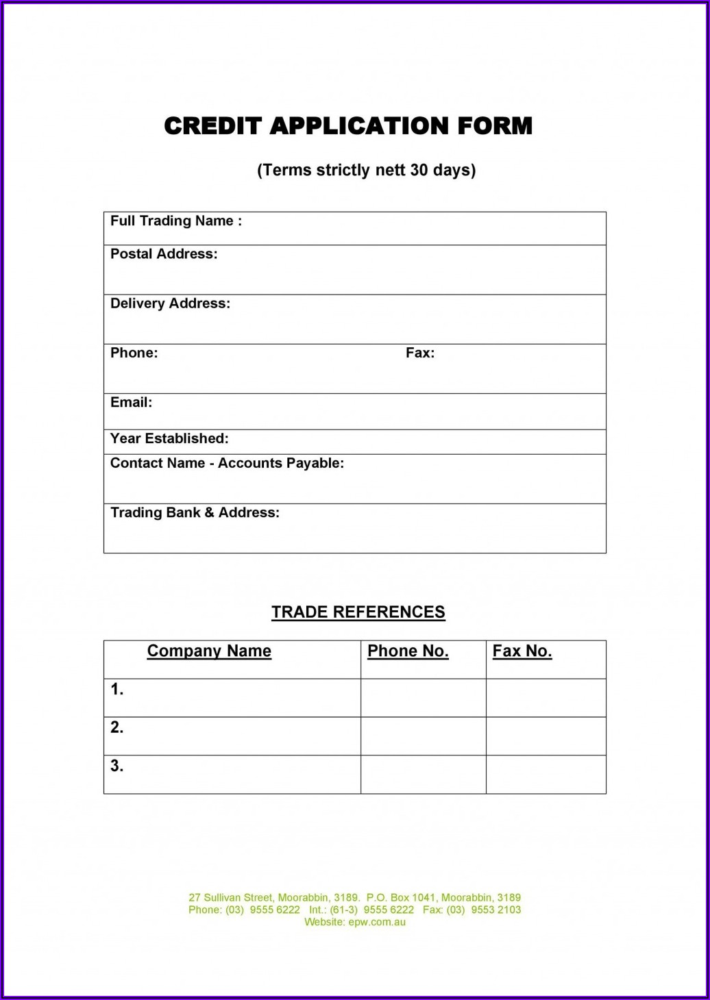 Business Credit Application Form Template Australia