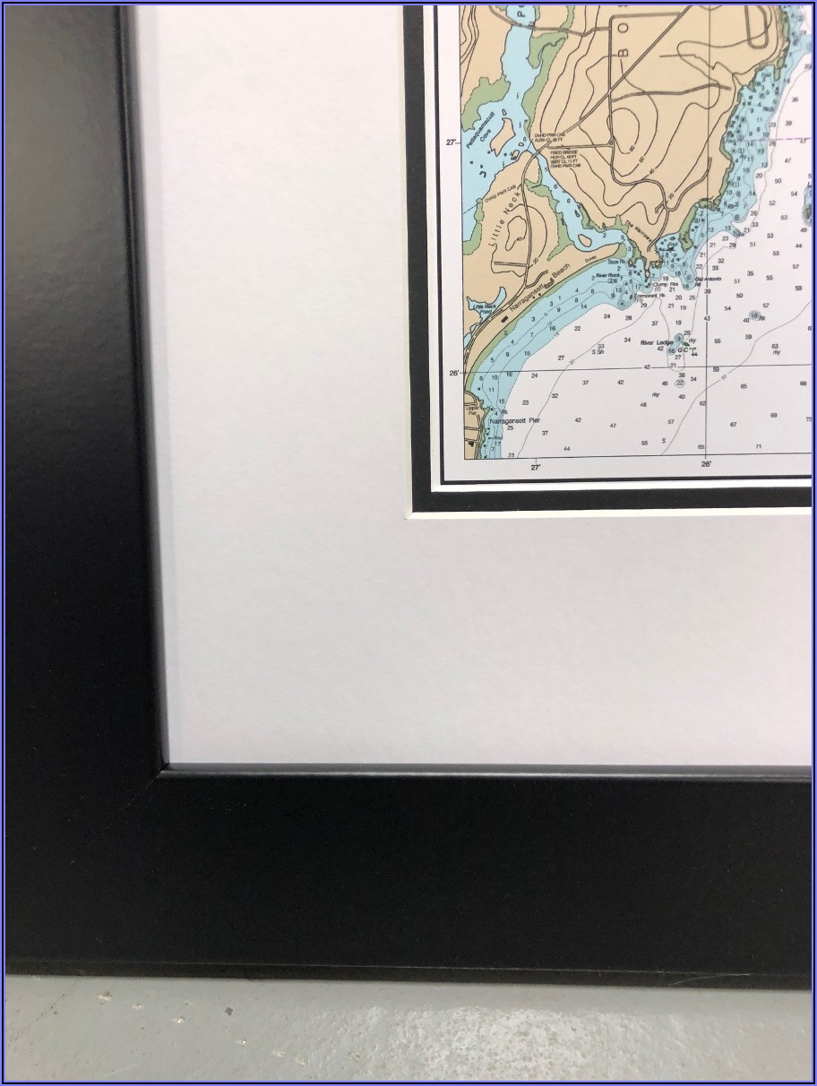 Cape Cod Nautical Chart Framed