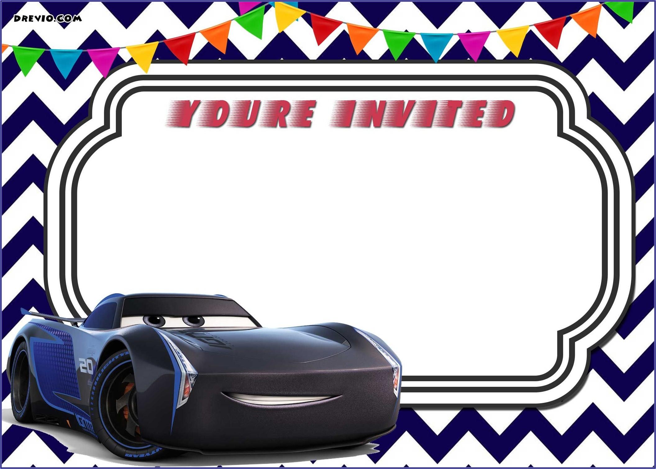 Cars 3 Invitation Template Free