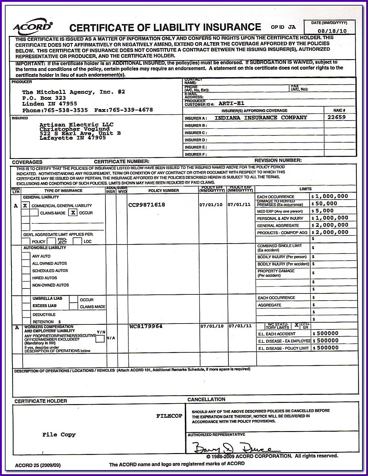 Certificate Of Liability Insurance Form Doc