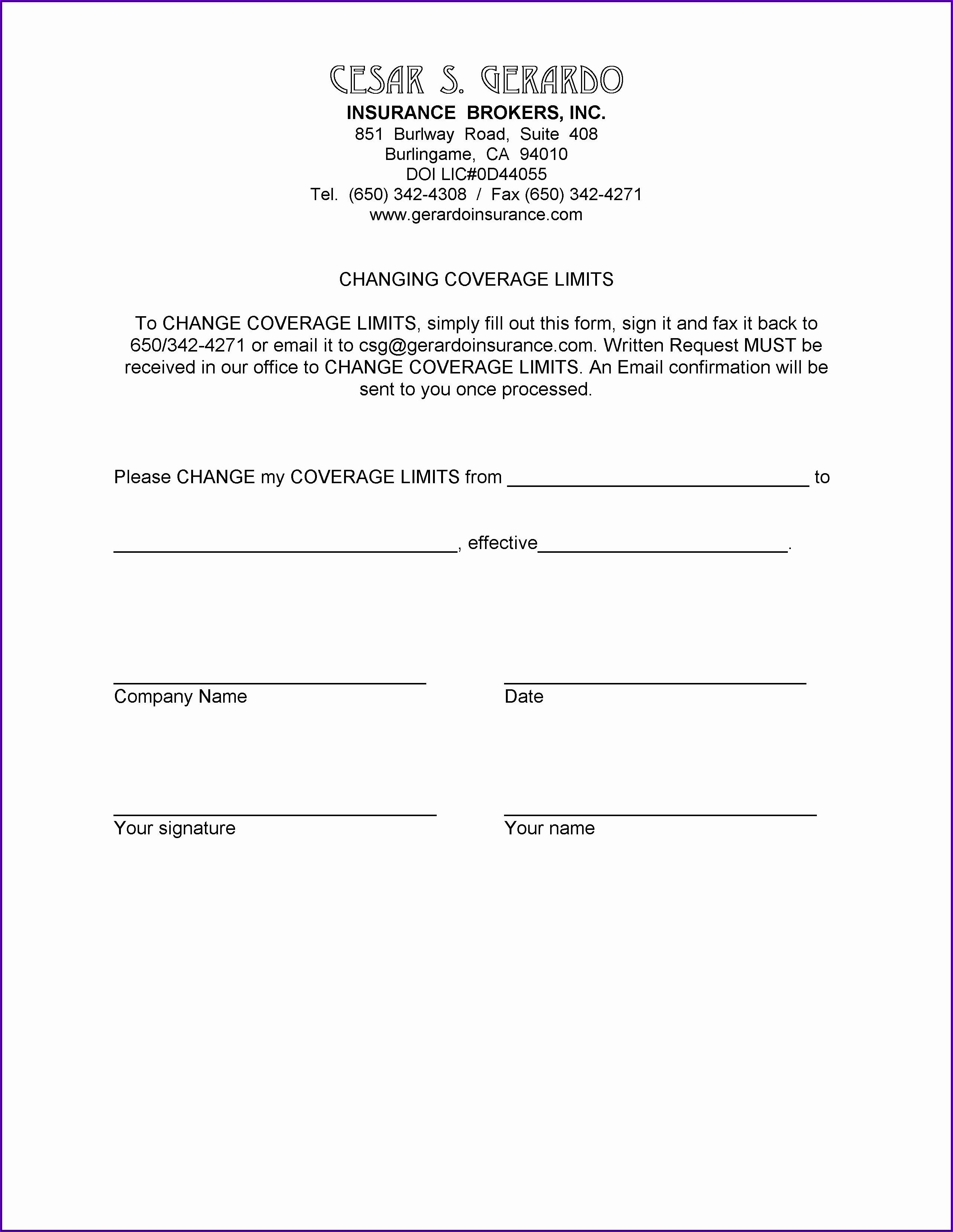 Certificate Of Liability Insurance Request Form