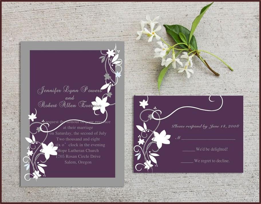 Cheap Rustic Floral Plum Wedding Invitations