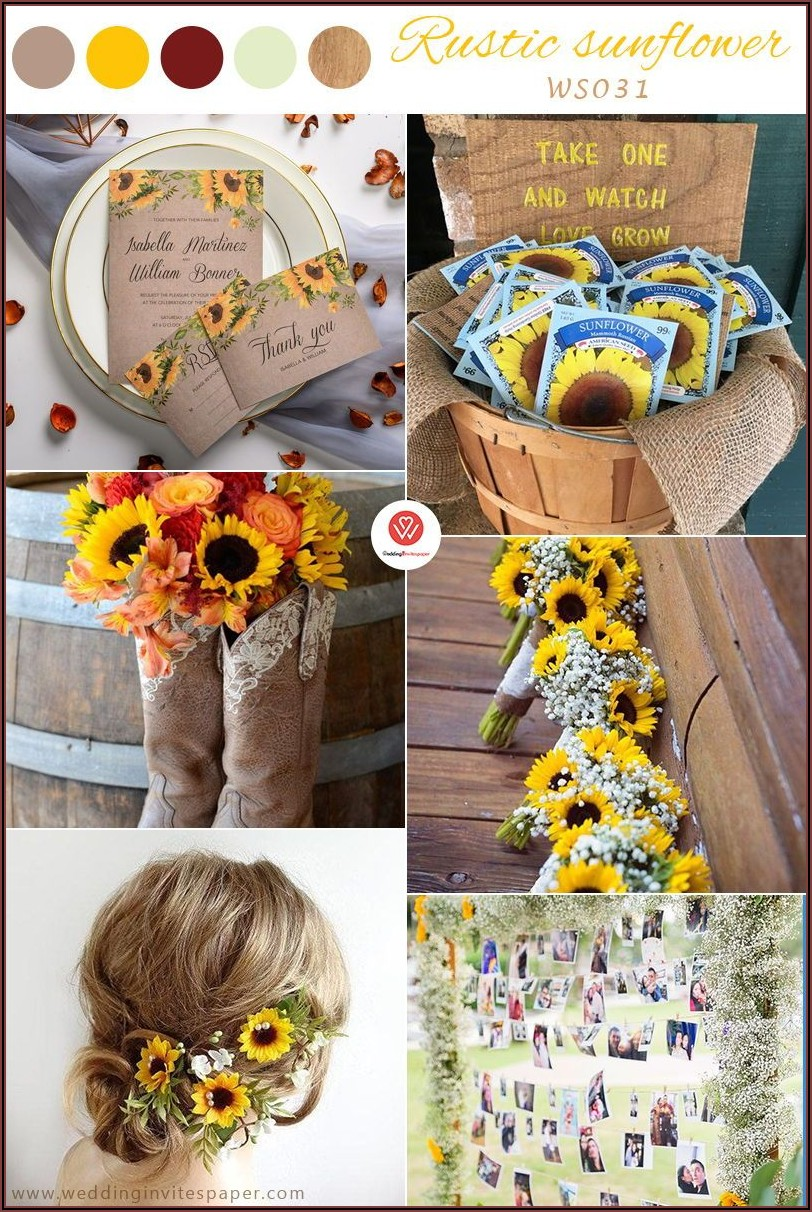 Cheap Rustic Sunflower Wedding Invitations