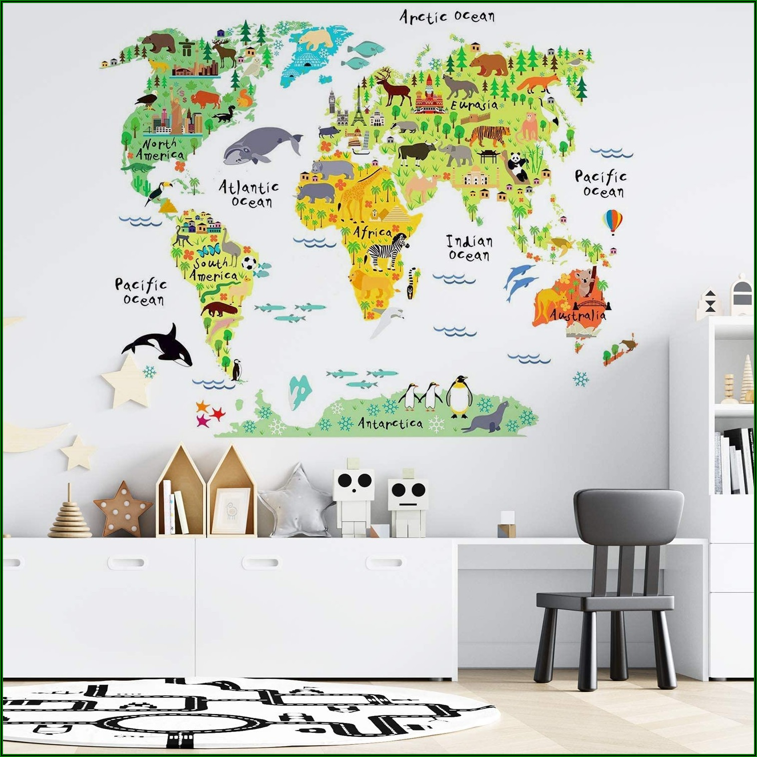 Childrens Wall Sticker Map