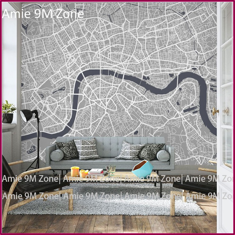 City Map Mural Wallpaper
