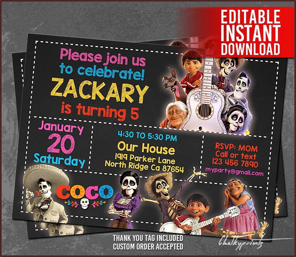 Coco Birthday Invitations Template
