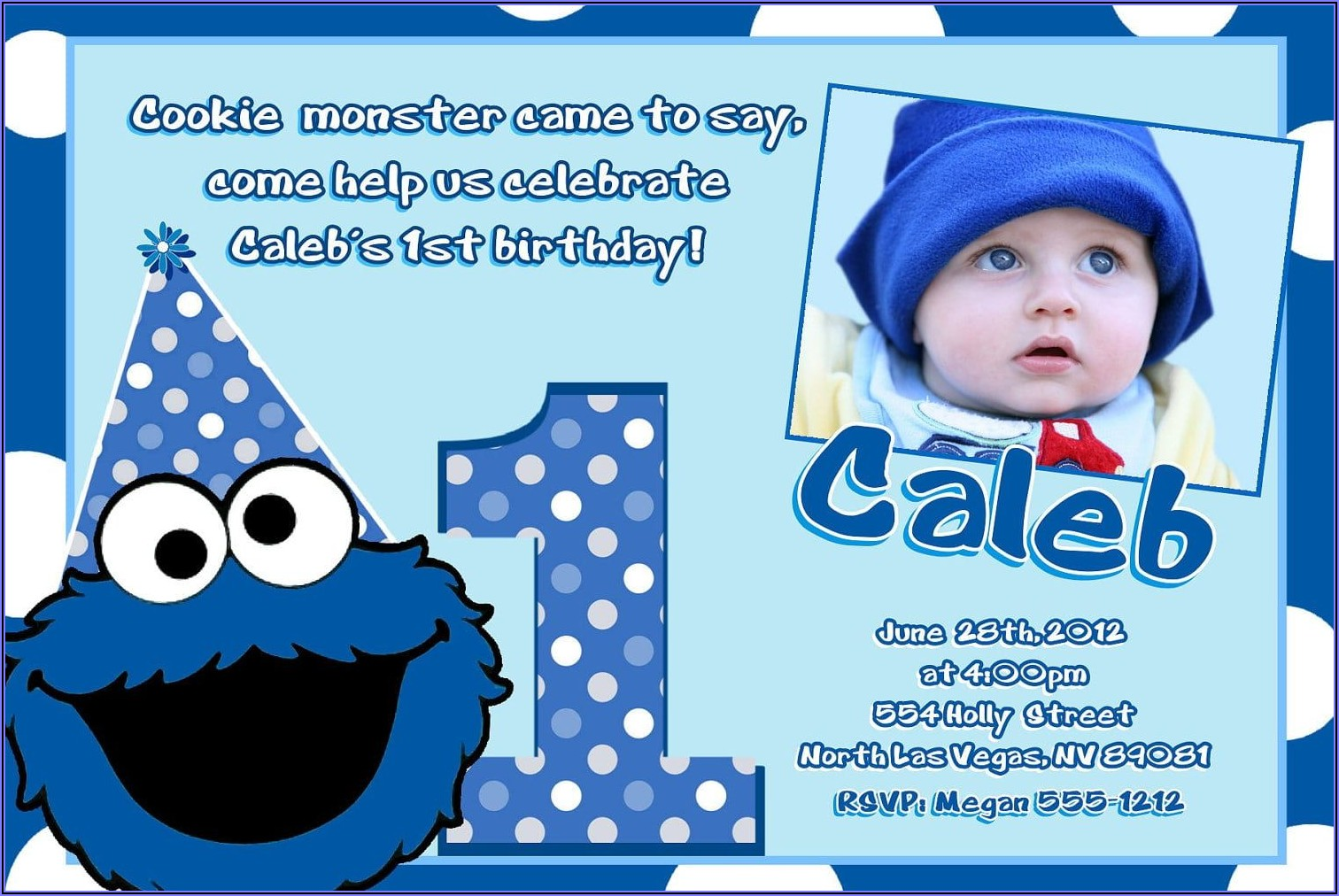 Cookie Monster 1st Birthday Party Invitations