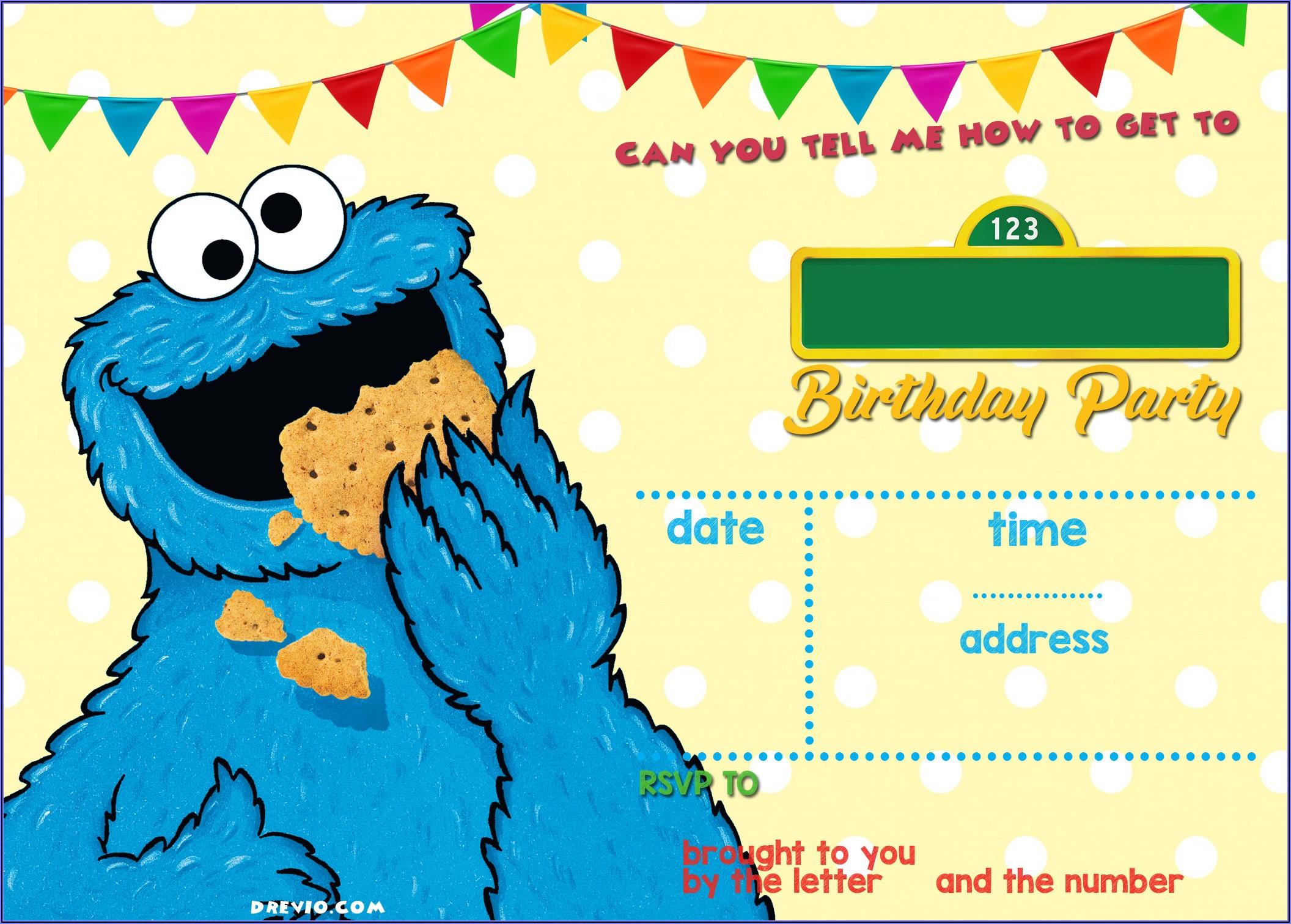 Cookie Monster Birthday Invitations Free