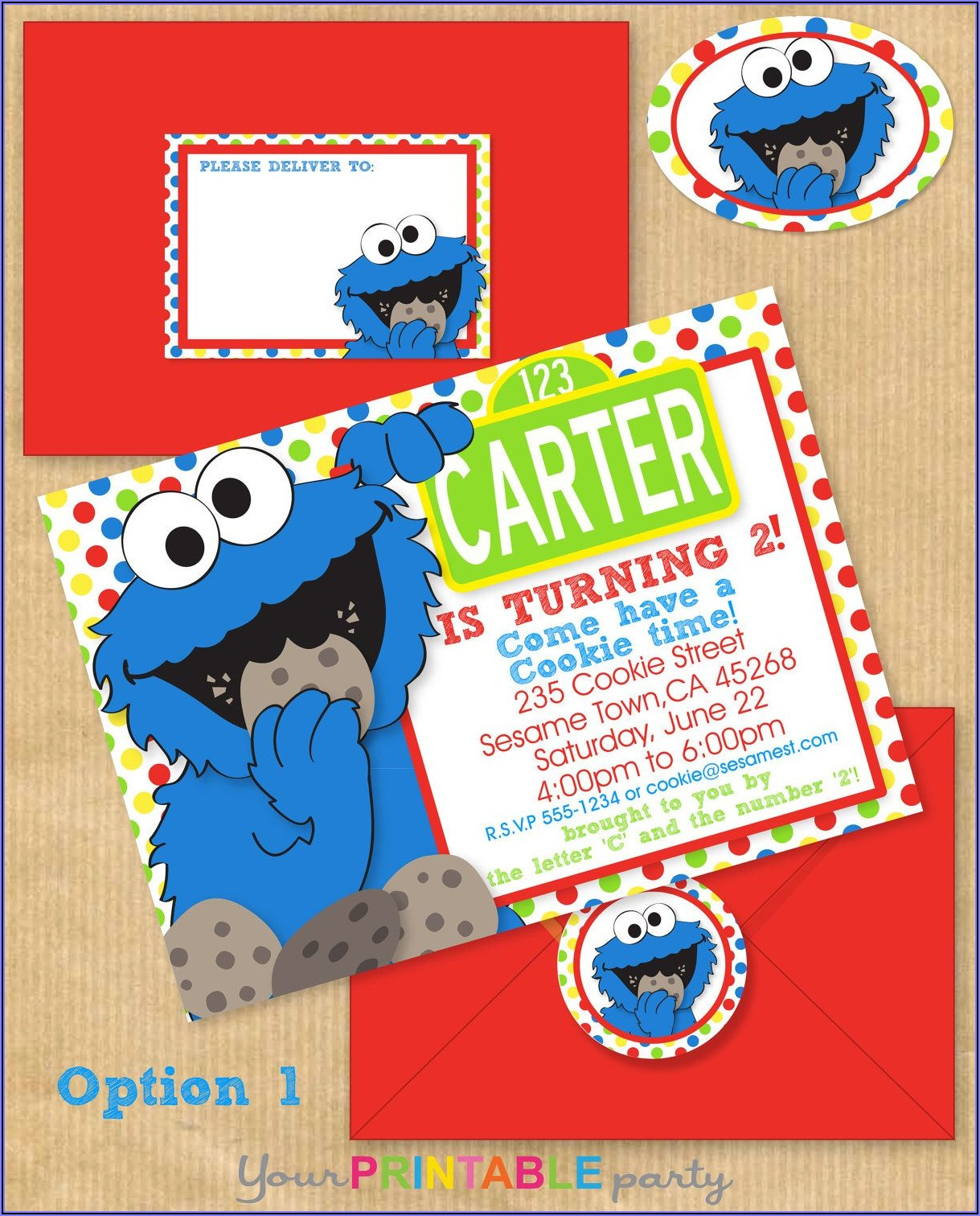 Cookie Monster Party Invitation Template