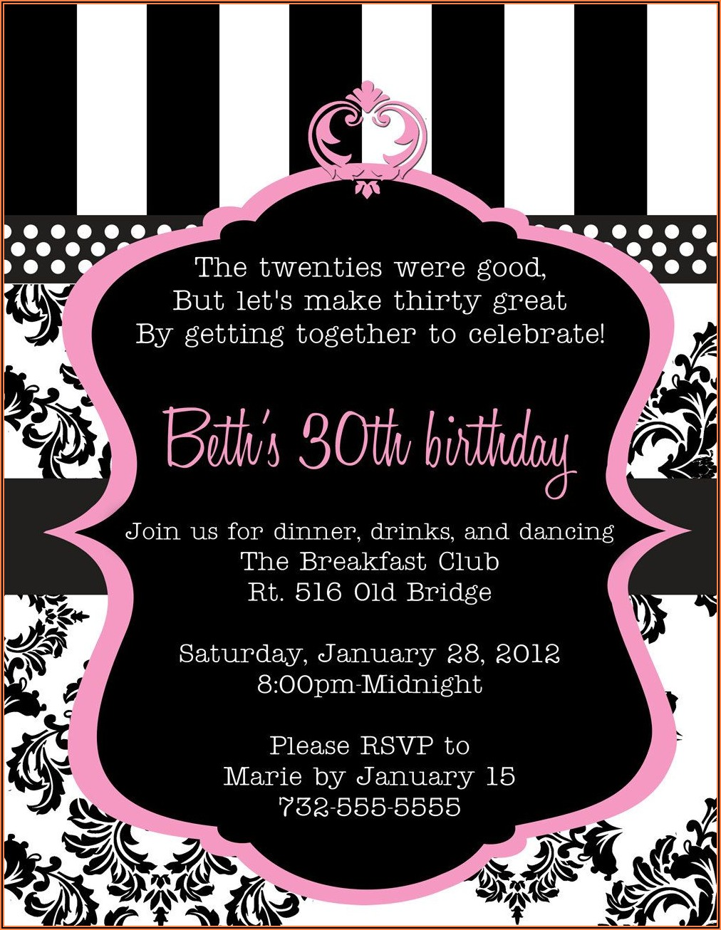 Create 30th Birthday Invitations Free