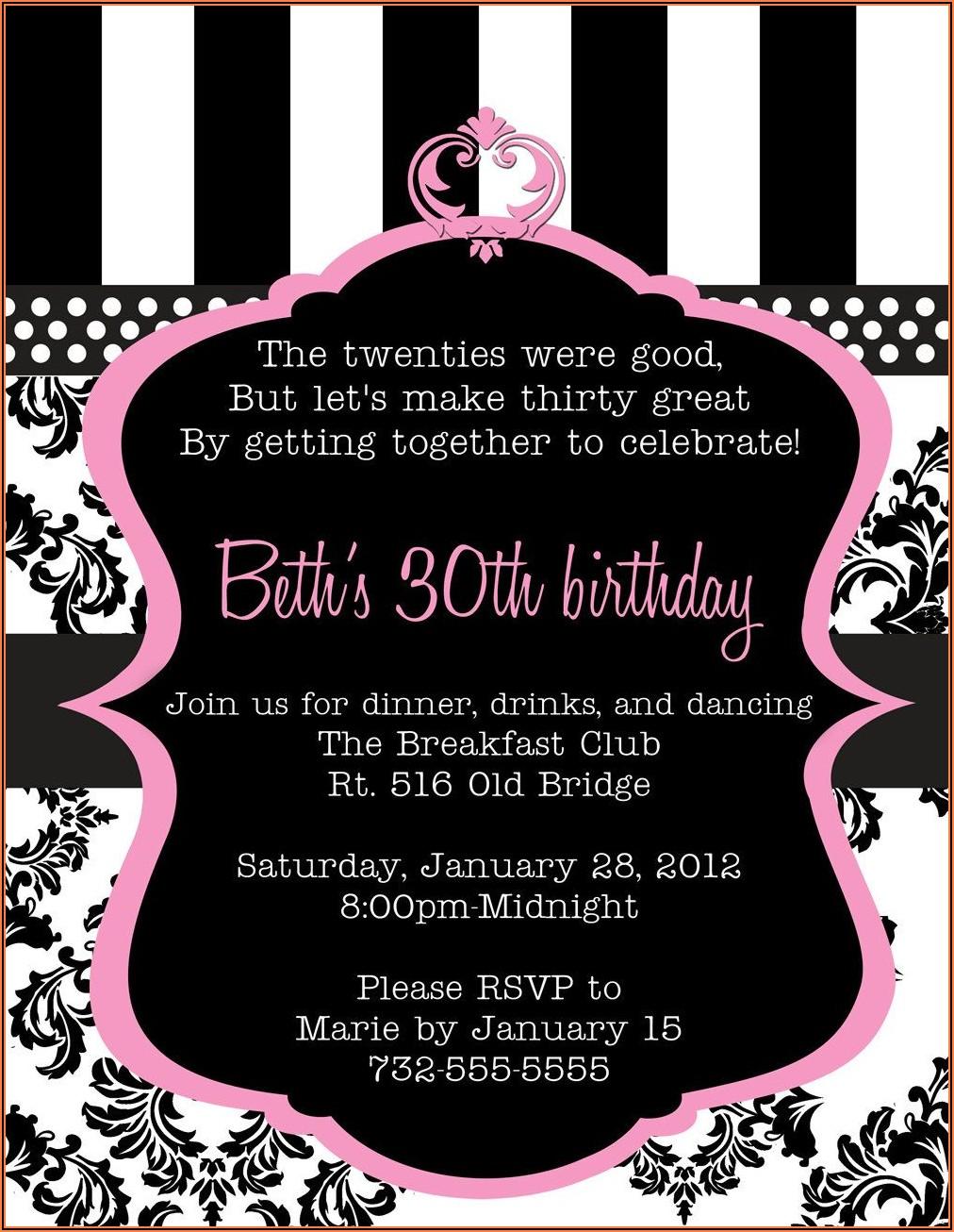 Create 30th Birthday Invitations Free