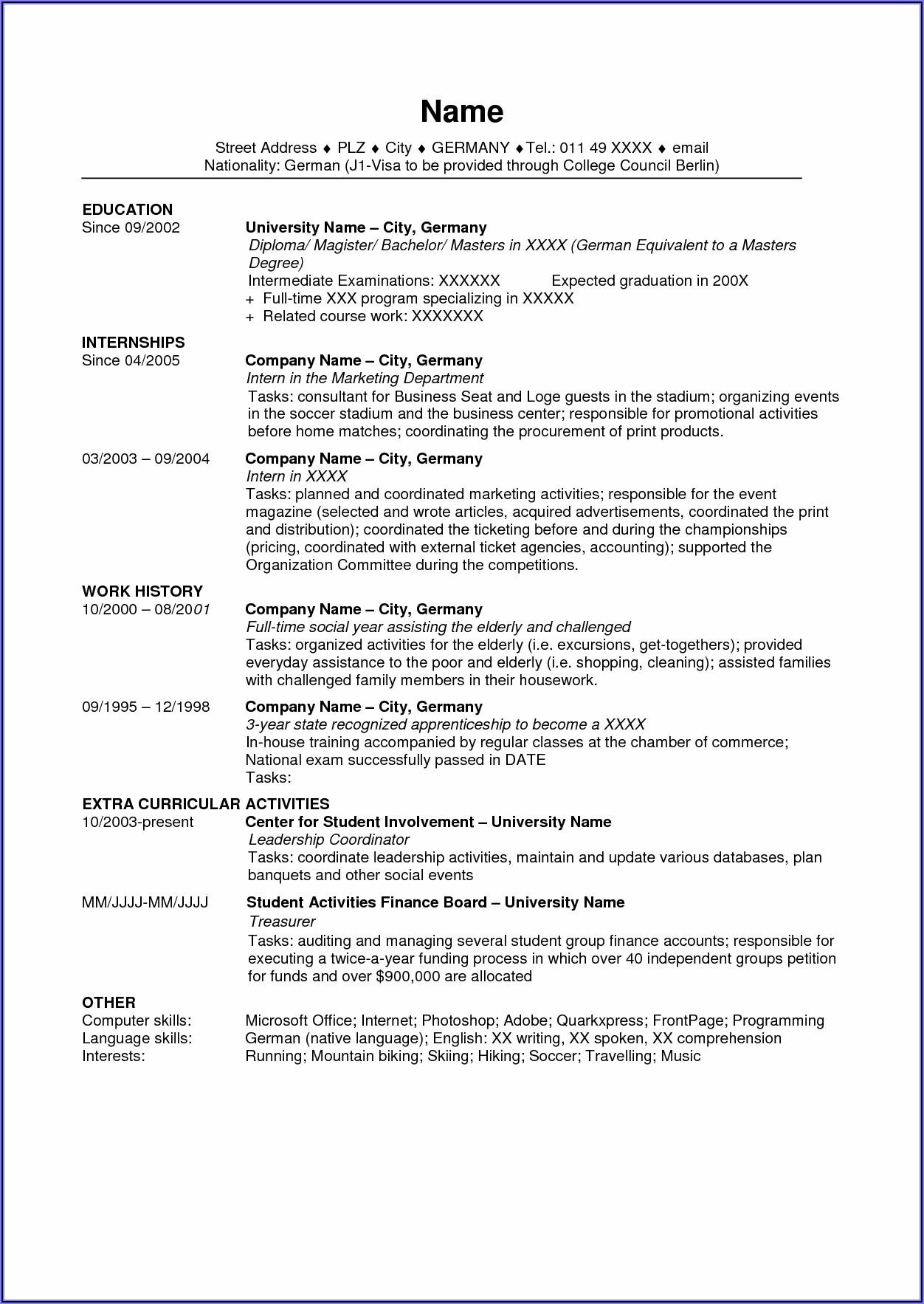 Curriculum Vitae Usa Template