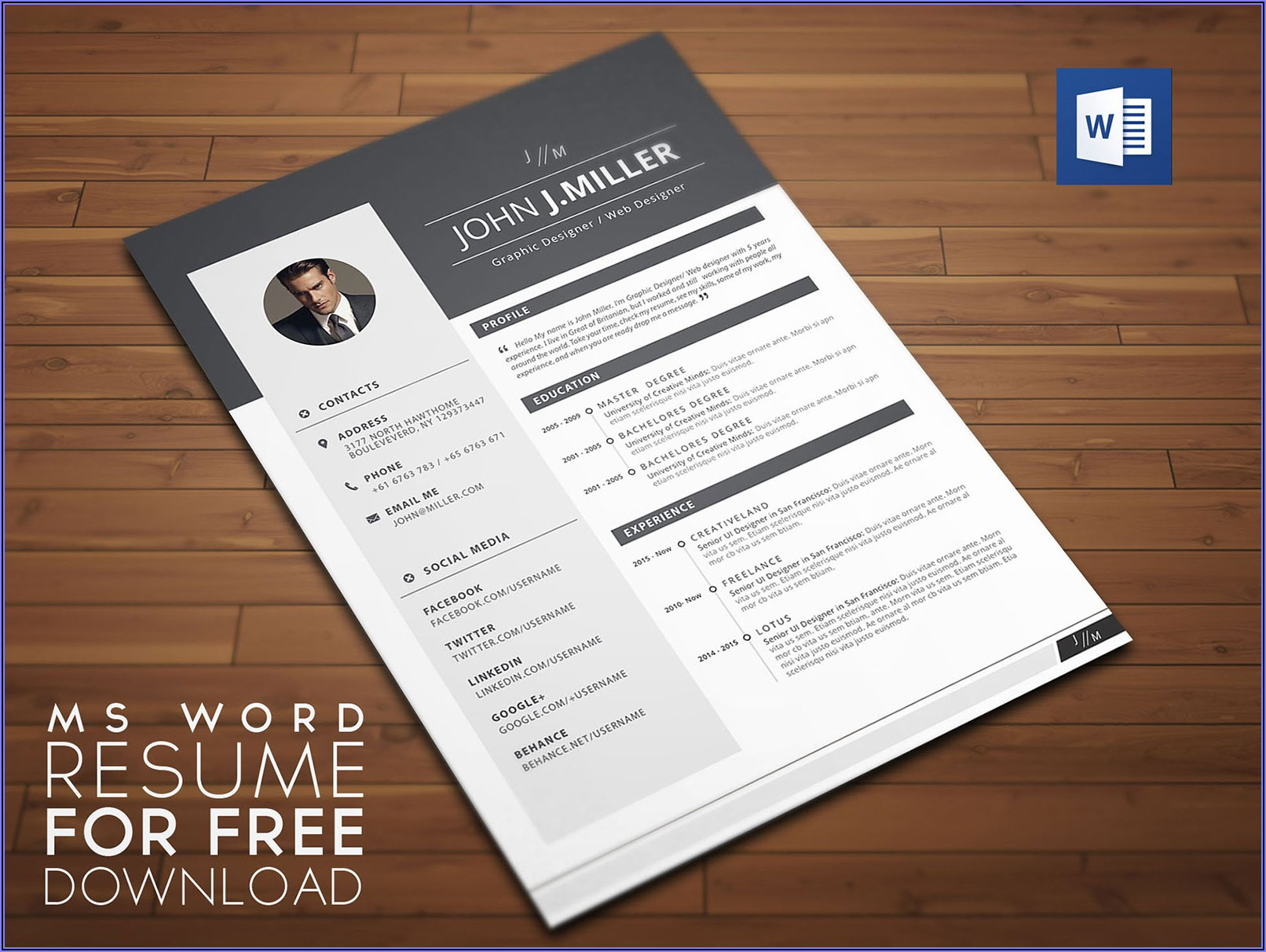 Cv Resume Template Word Free Download