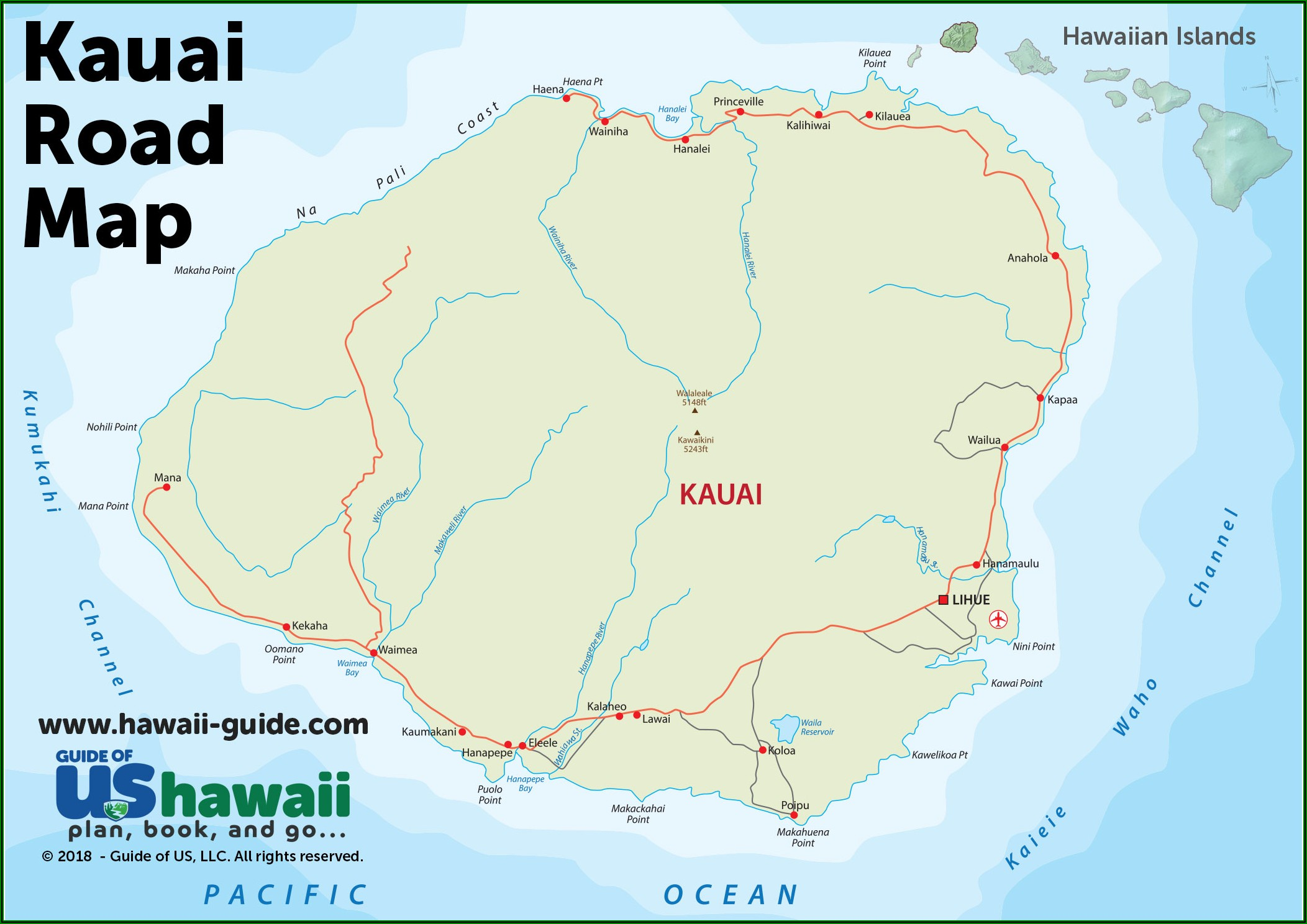 Detailed Map Of Kauai Hawaii