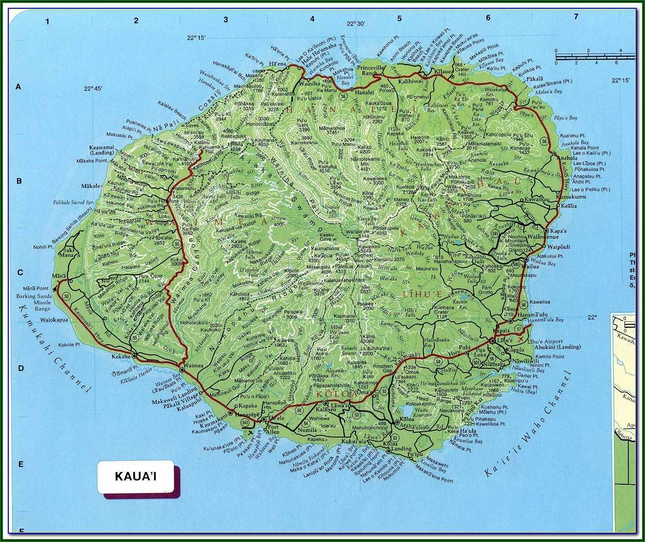 Detailed Map Of Kauai