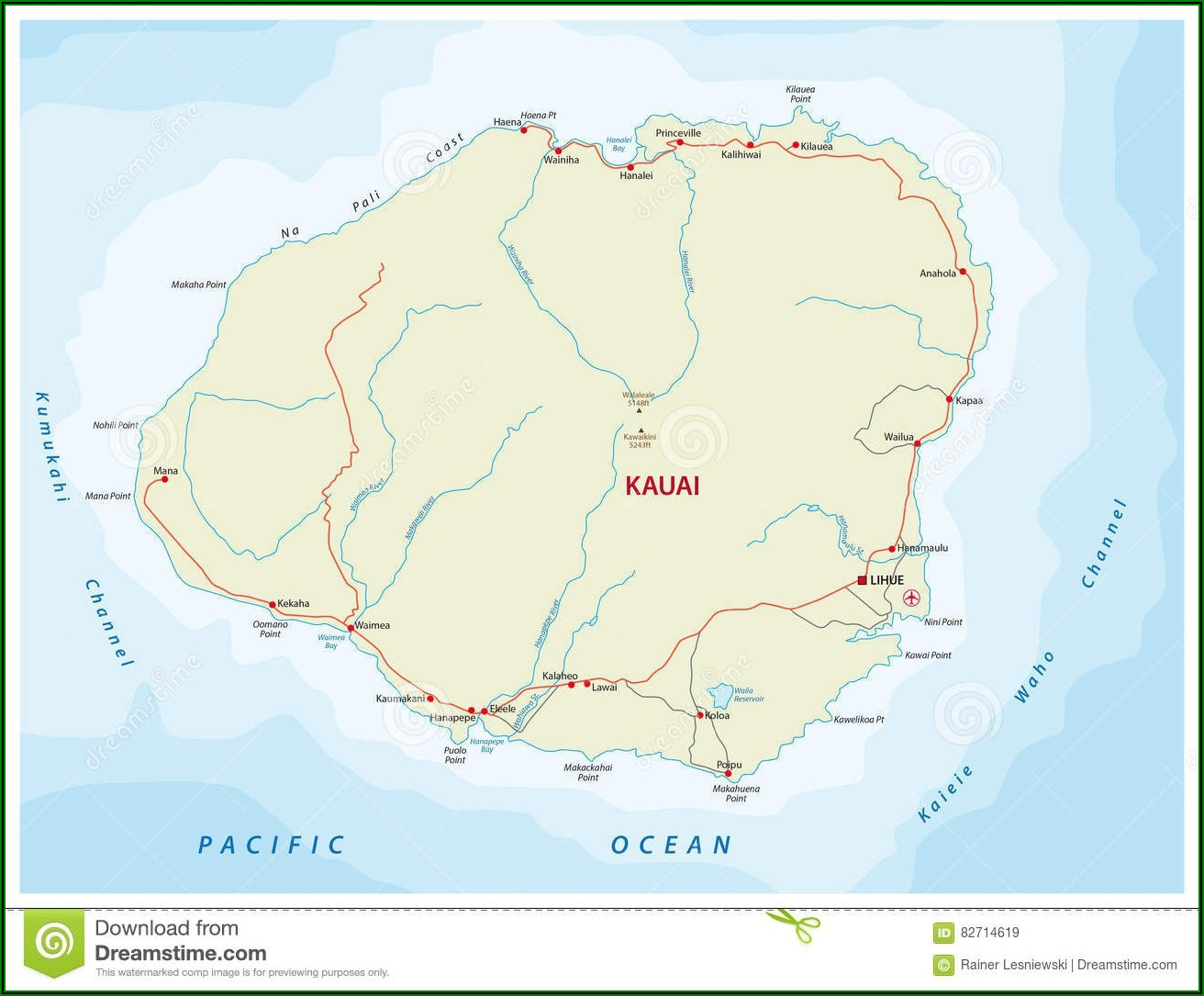 Detailed Road Map Of Kauai