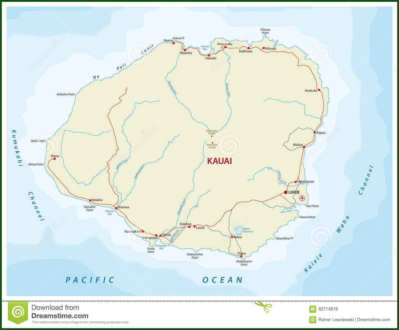 Detailed Road Map Of Kauai