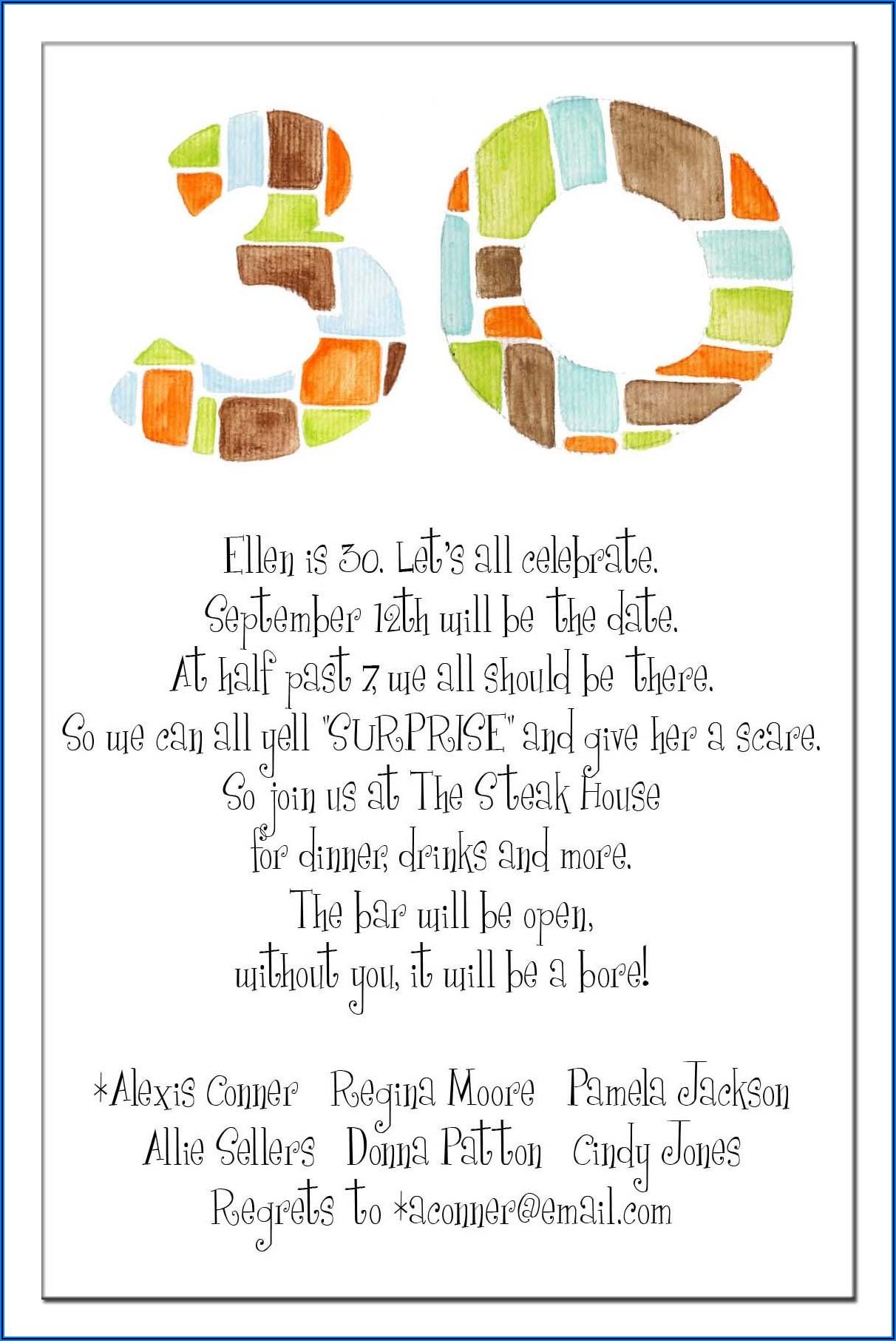 Dirty 30 Birthday Invitation Ideas