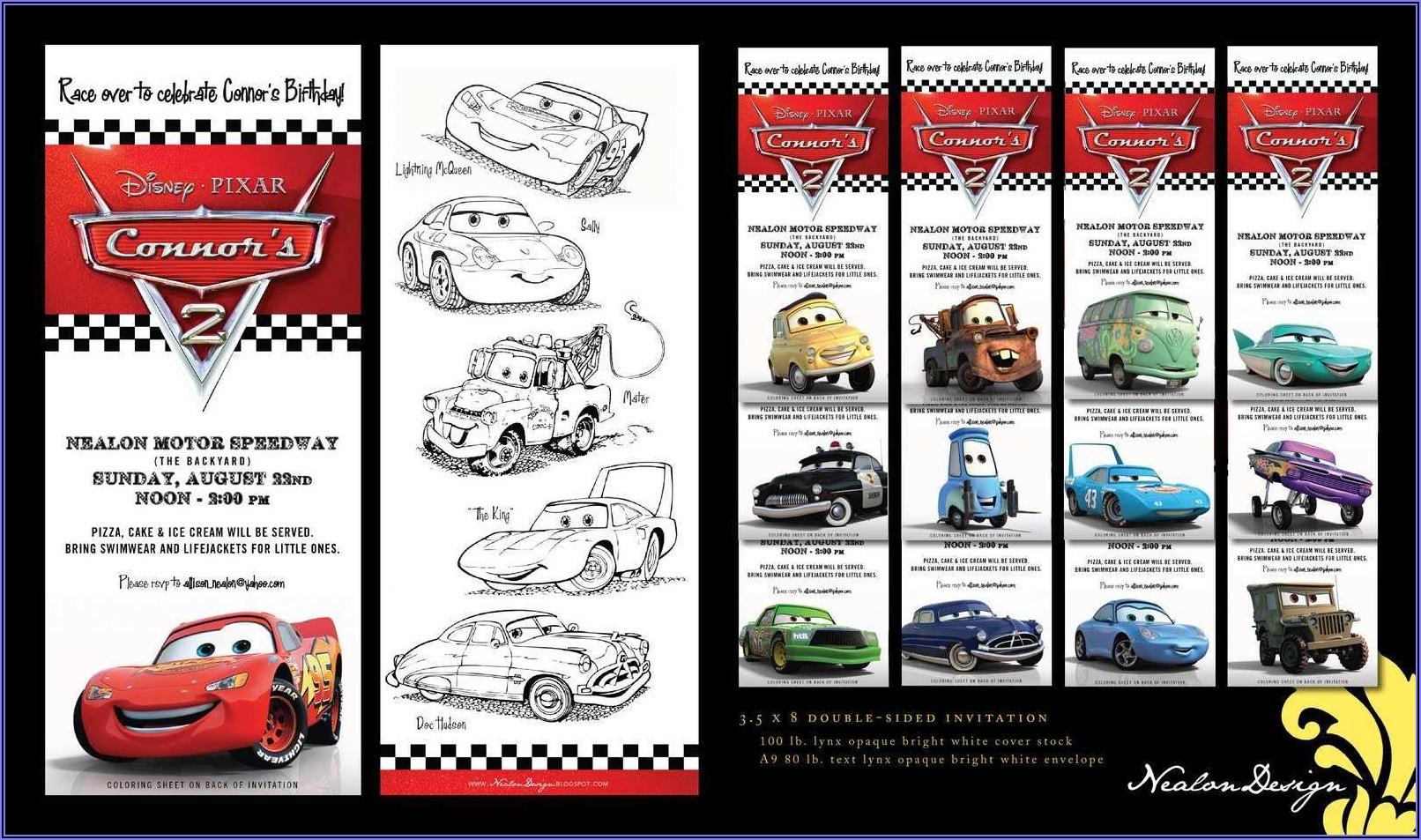Disney Cars Invitation Template Free