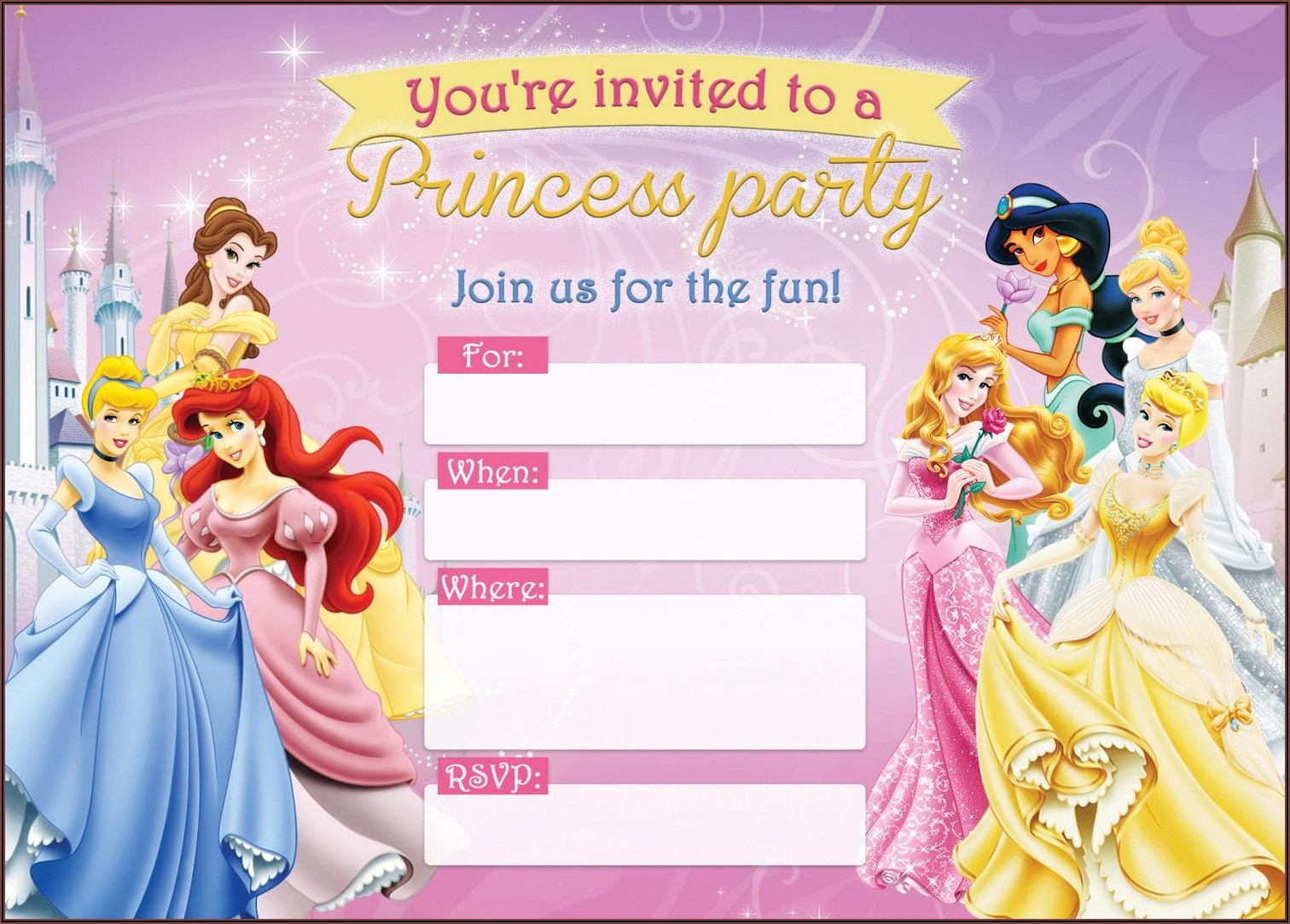 Disney Princess 1st Birthday Invitations