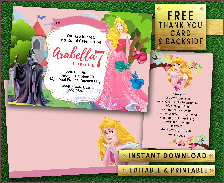 Disney Princess Birthday Invitations Editable